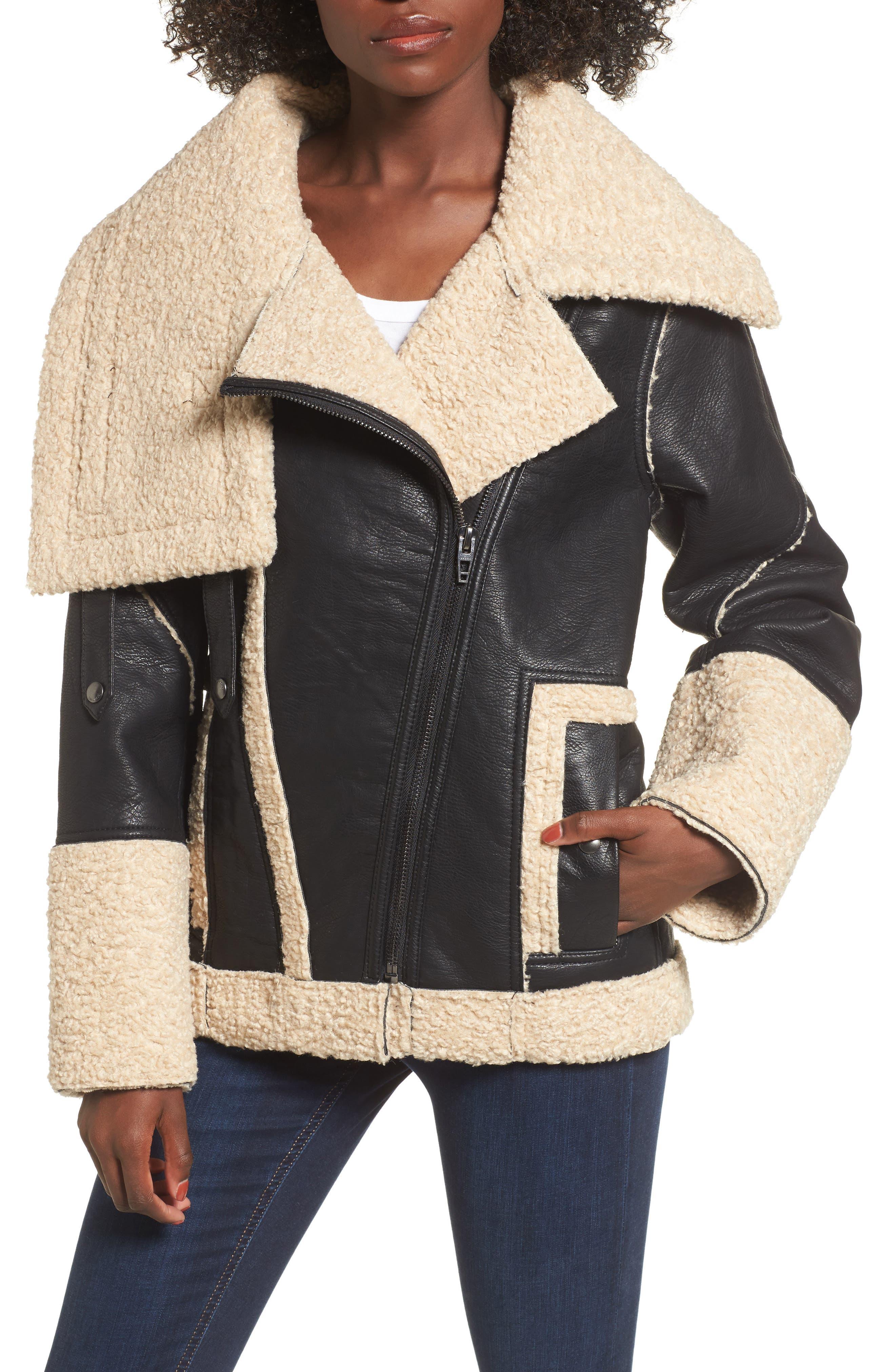 Faux Shearling & Faux Leather Jacket,                         Main,                         color, Oatmeal Raisin