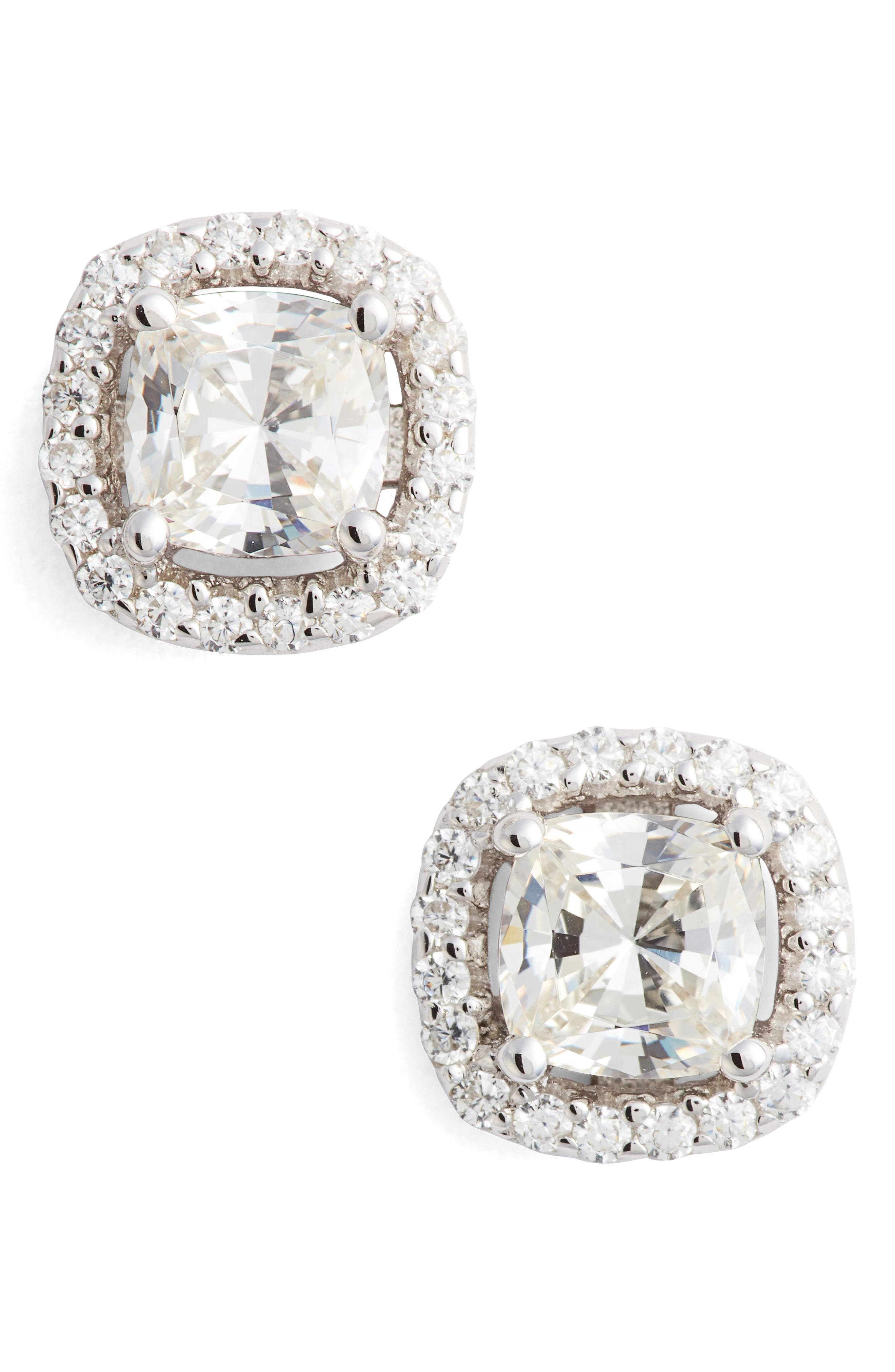 Cushion Cut Simulated Diamond Stud Earrings,                             Main thumbnail 1, color,                             Silver/ Clear