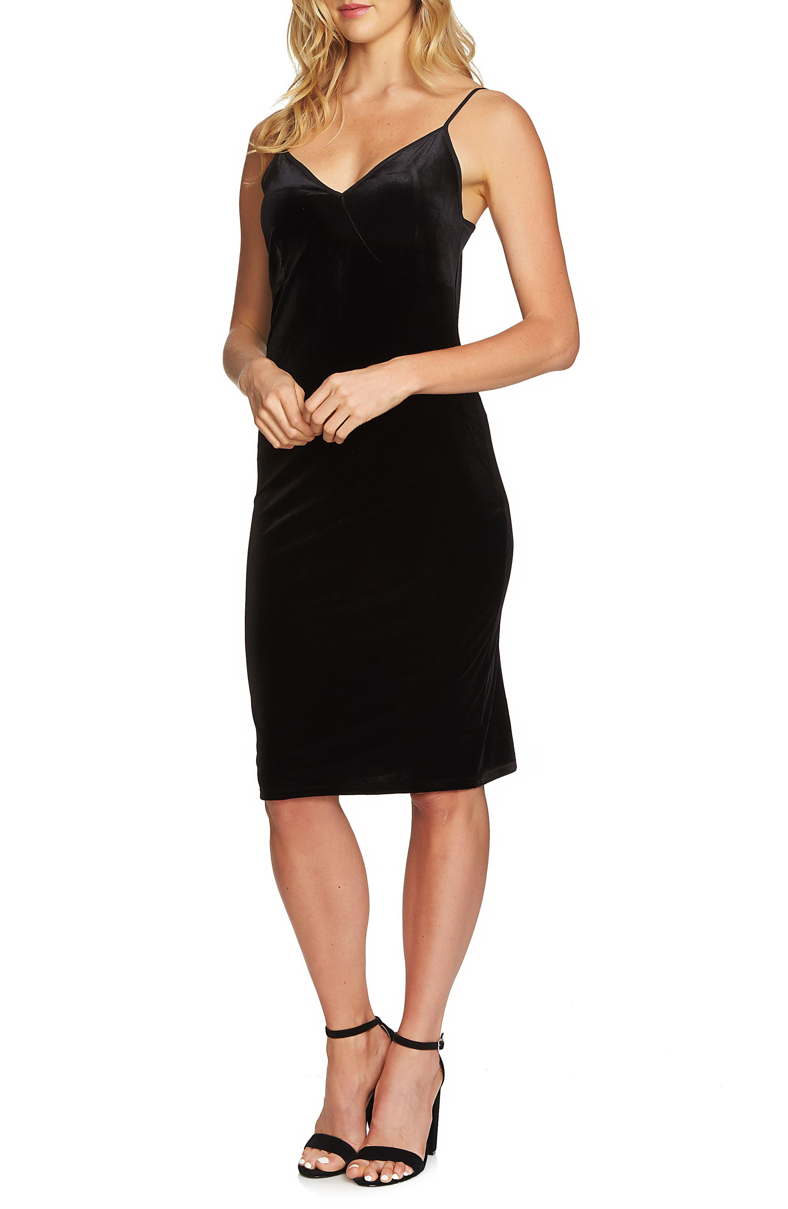 Velvet Slipdress,                         Main,                         color, Rich Black