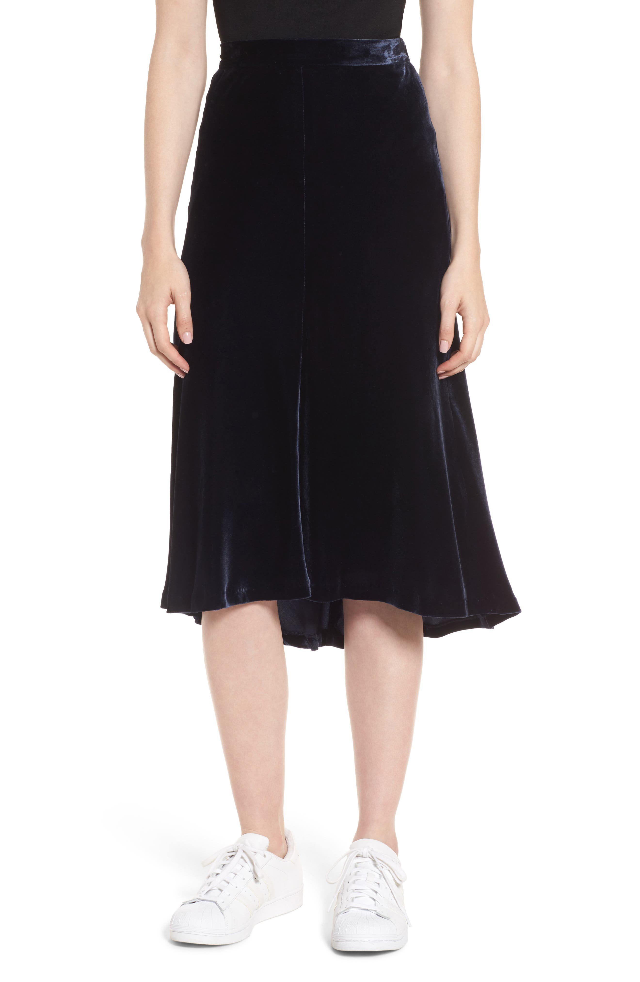 High/Low Velvet Skirt,                             Main thumbnail 1, color,                             Navy Night