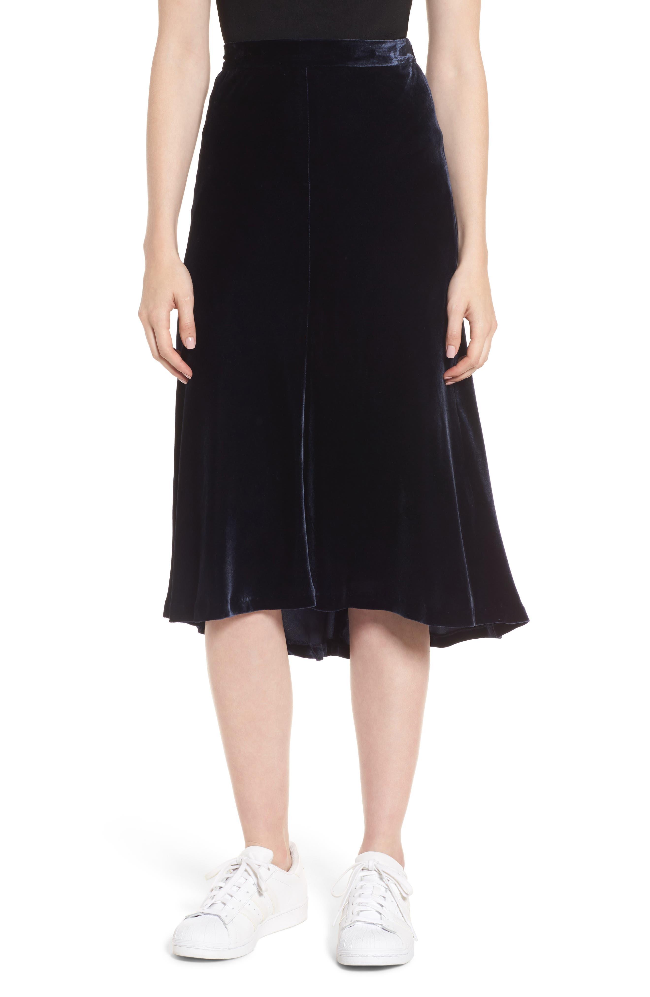 High/Low Velvet Skirt,                         Main,                         color, Navy Night
