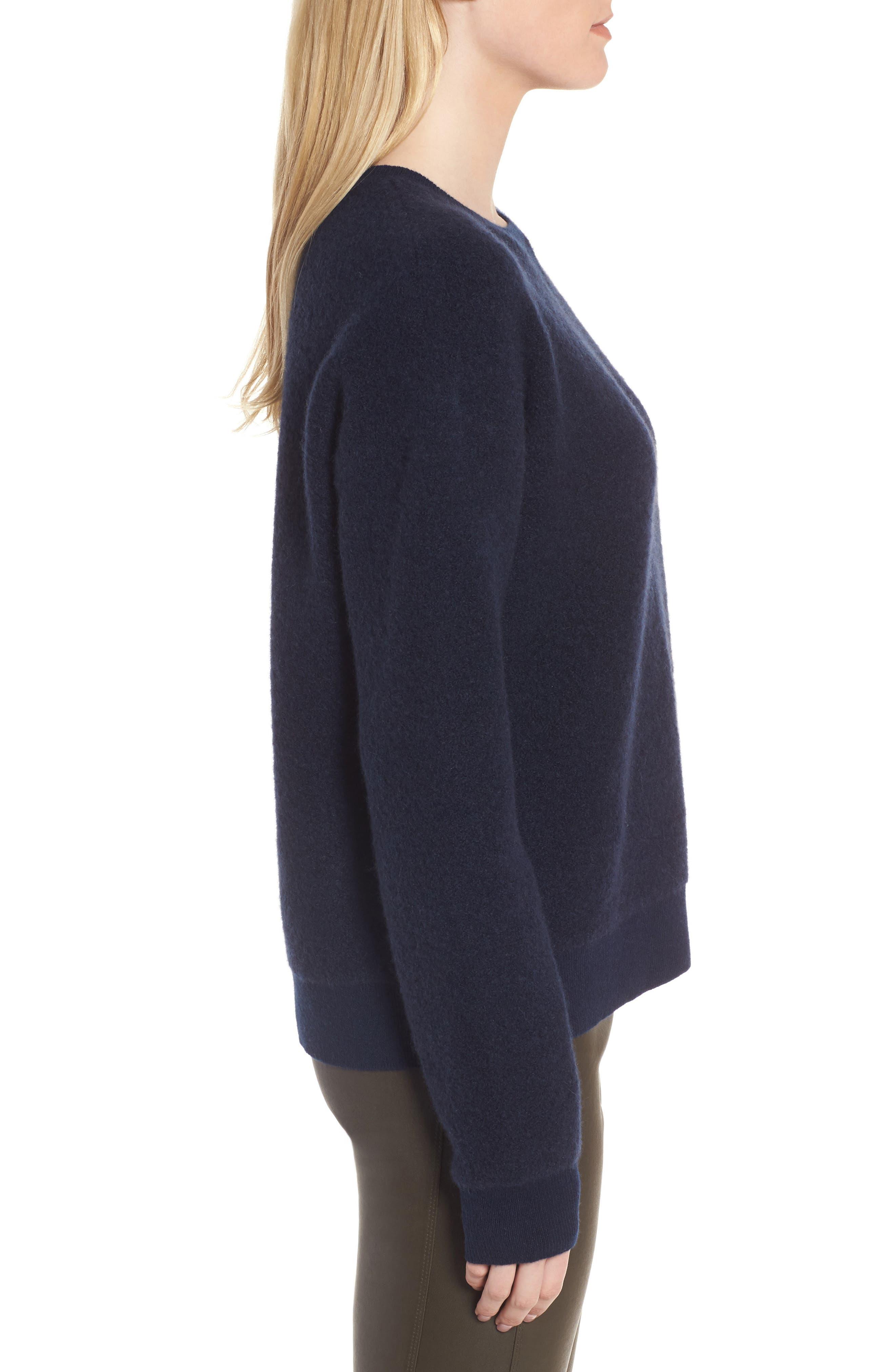 Cashmere Blend Bouclé Sweater,                             Alternate thumbnail 4, color,                             Navy Medieval