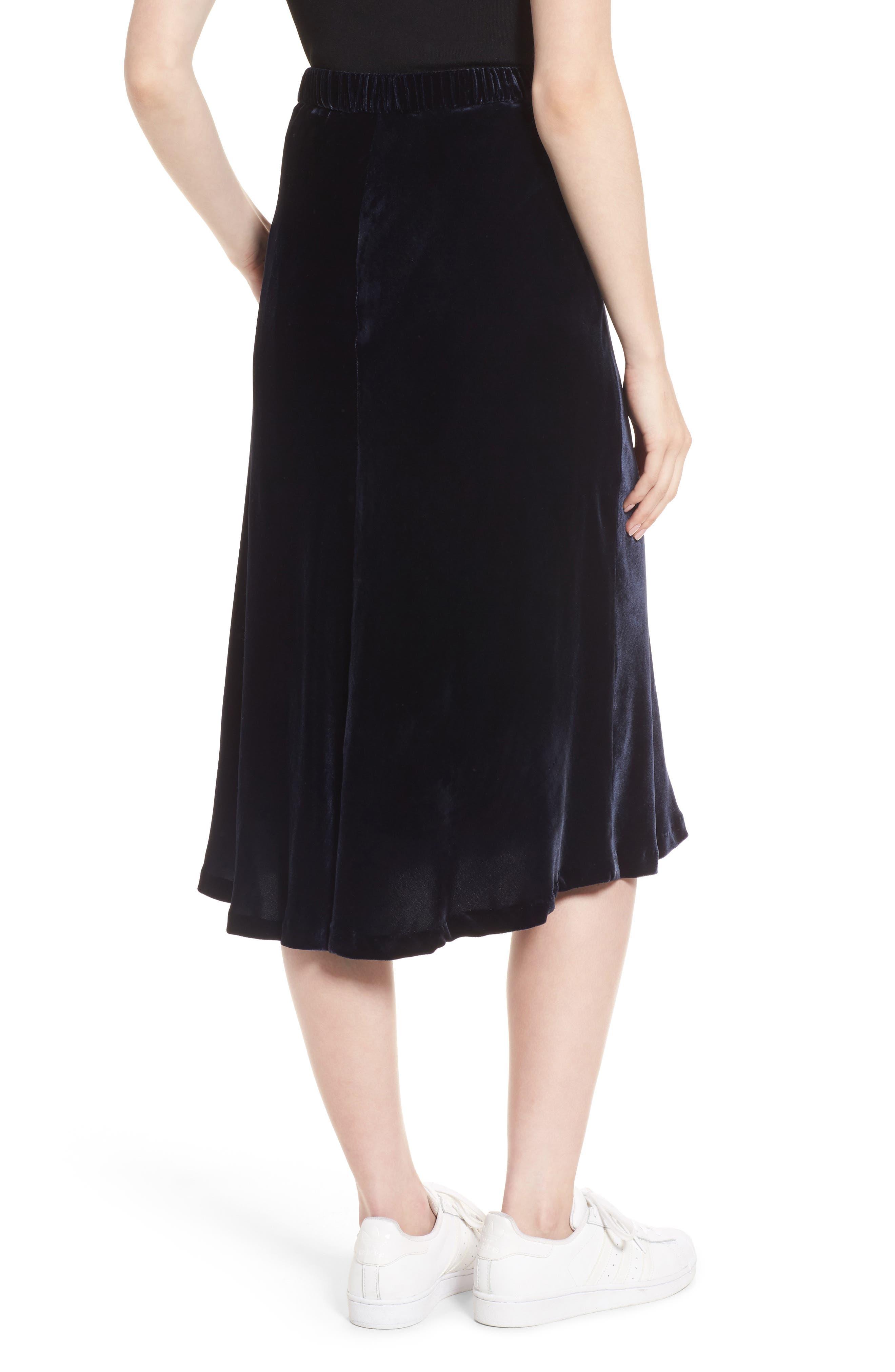 High/Low Velvet Skirt,                             Alternate thumbnail 4, color,                             Navy Night
