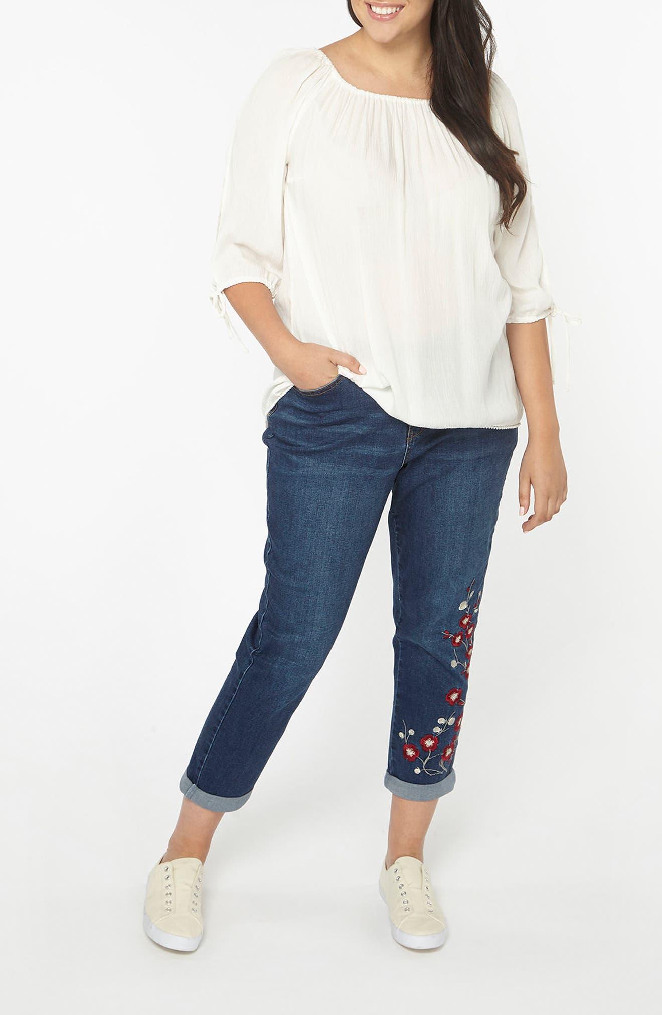 Alternate Image 2  - Evans Embroidered Crop Boyfriend Jeans (Plus Size)