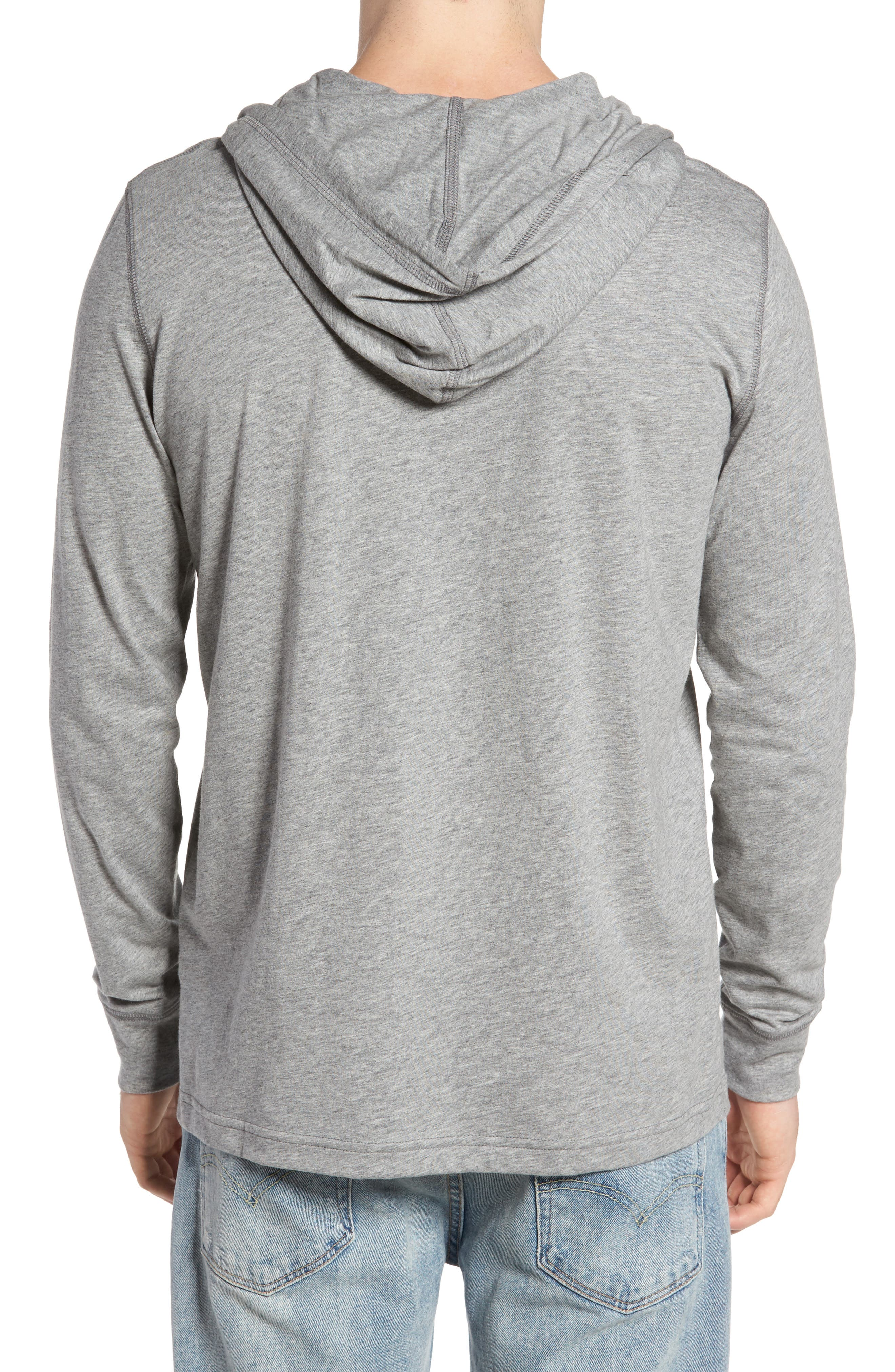 Delano Henley Hoodie,                             Alternate thumbnail 2, color,                             Heather Grey