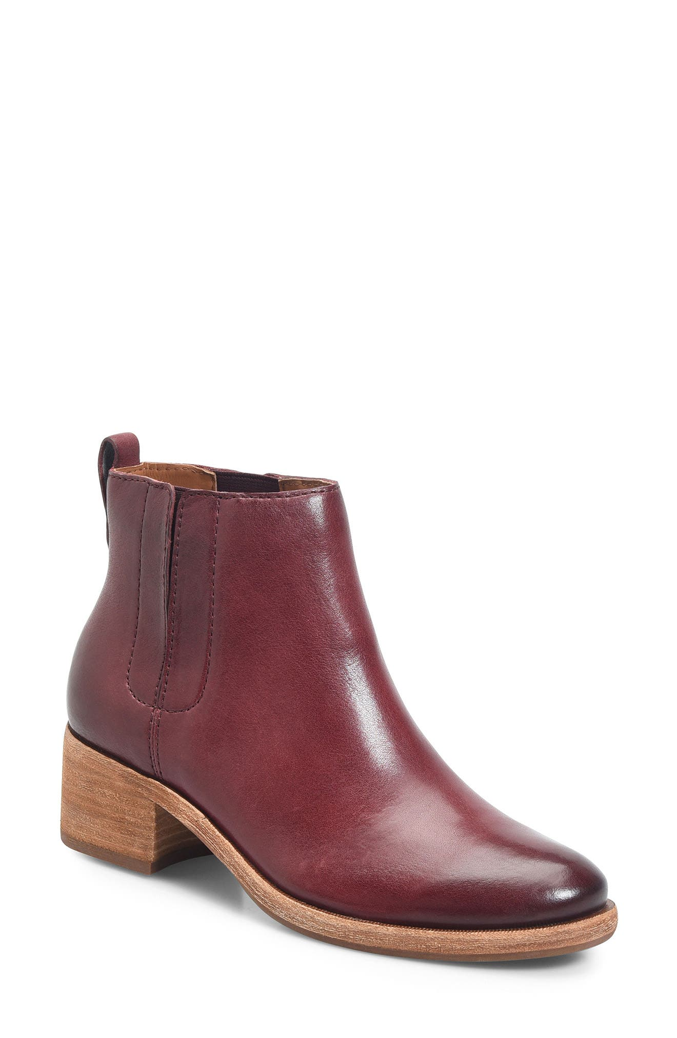 Mindo Chelsea Bootie,                             Main thumbnail 1, color,                             Burgundy Leather