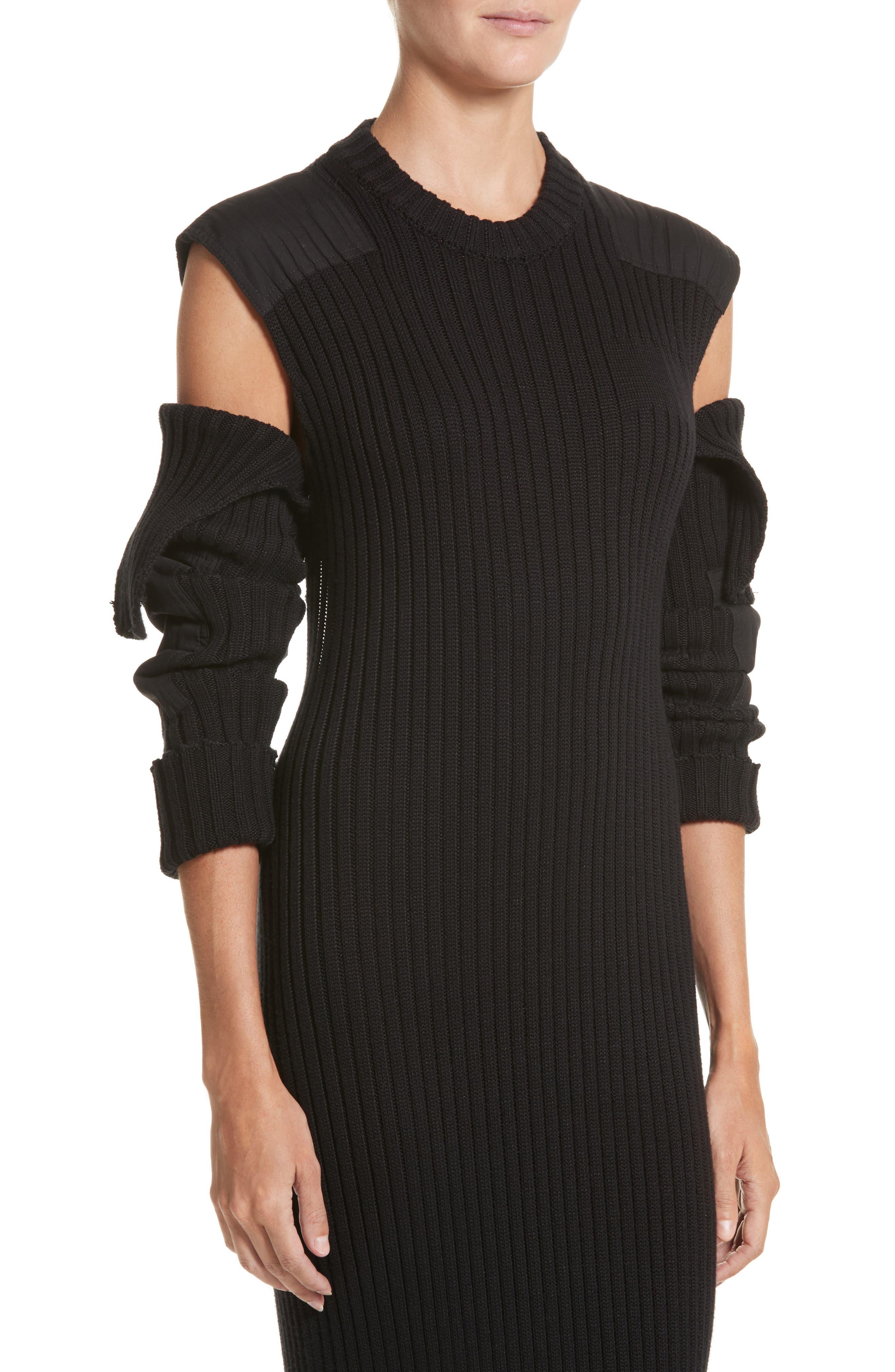 Rib Knit Cold Shoulder Dress,                             Alternate thumbnail 4, color,                             Black