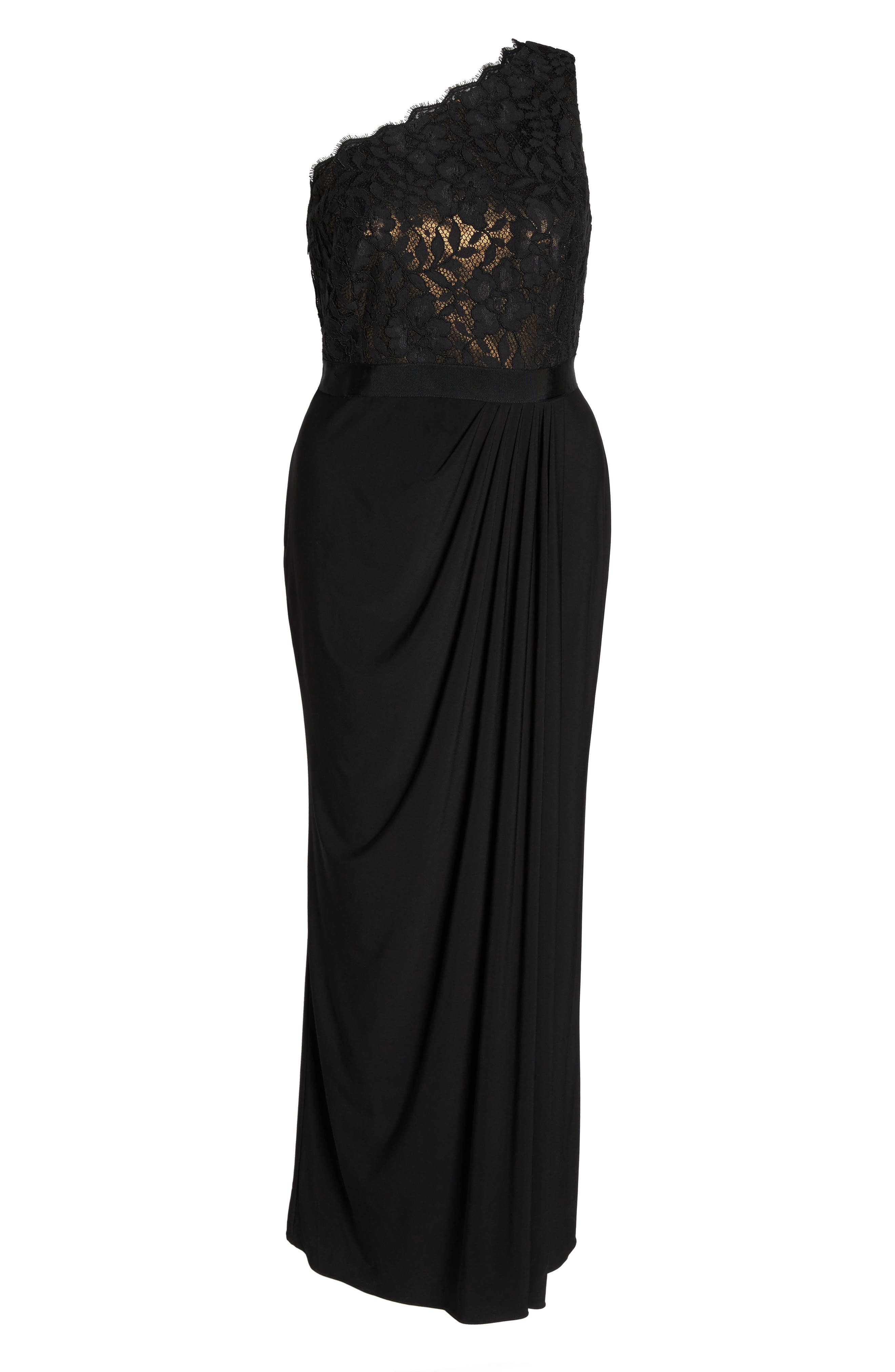 Metallic Lined Lace & Chiffon One-Shoulder Gown,                             Alternate thumbnail 6, color,                             Black/ Copper