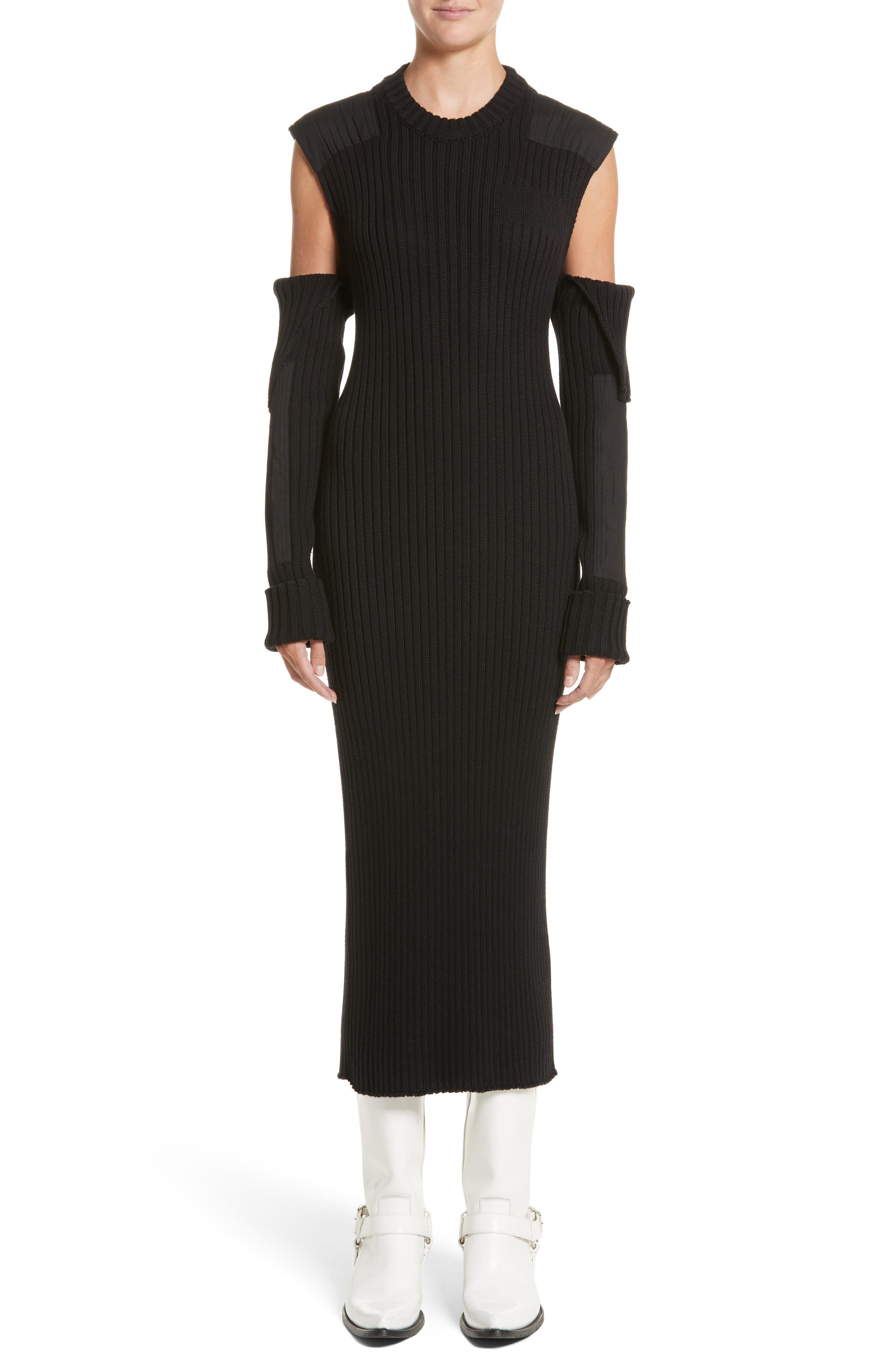 Rib Knit Cold Shoulder Dress,                         Main,                         color, Black