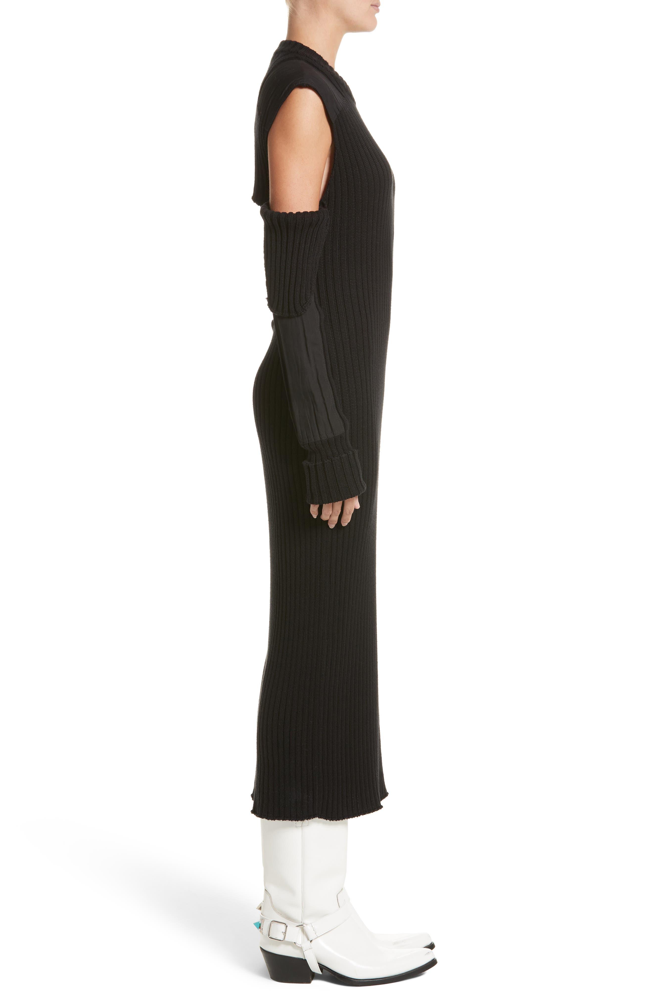 Rib Knit Cold Shoulder Dress,                             Alternate thumbnail 3, color,                             Black