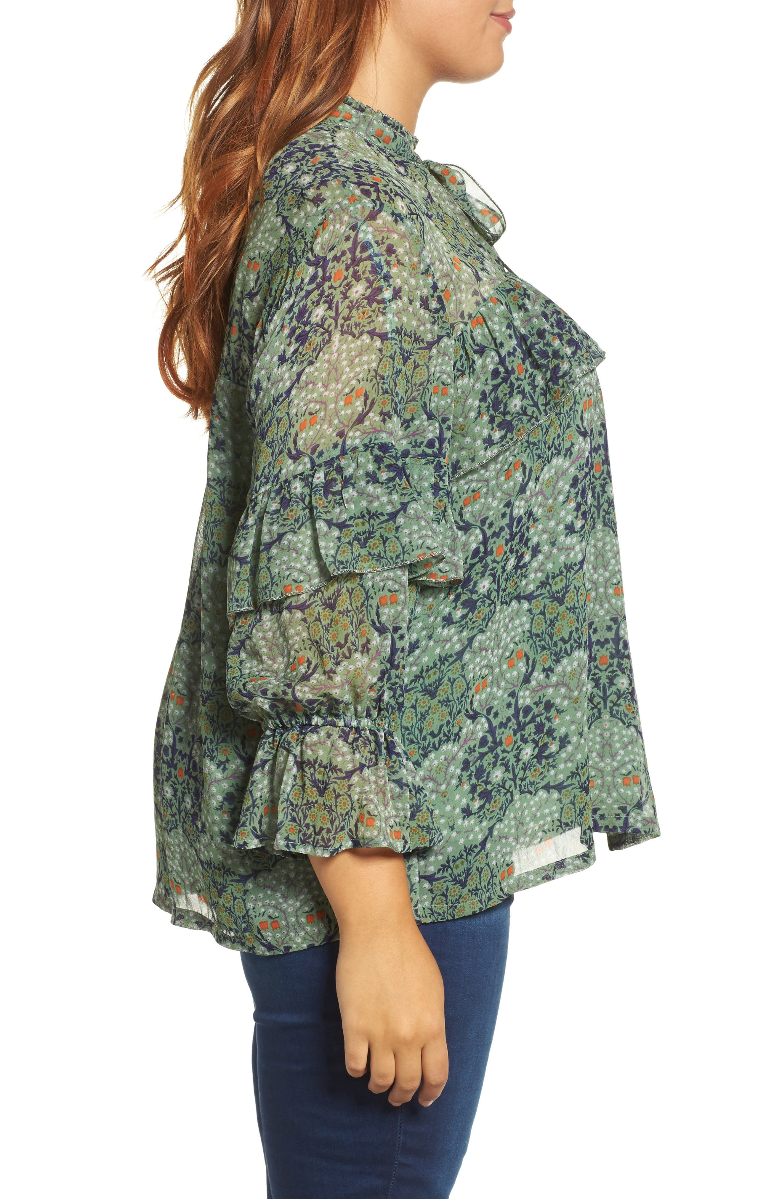 Ruffled Floral Blouse,                             Alternate thumbnail 3, color,                             Green Multi