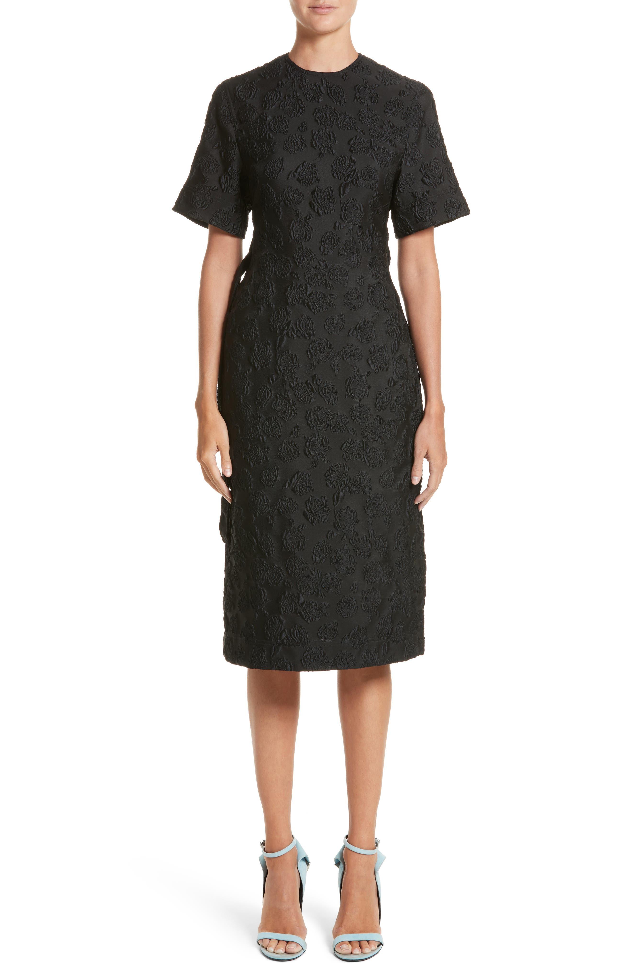 Rose Jacquard Dress,                             Main thumbnail 1, color,                             Black