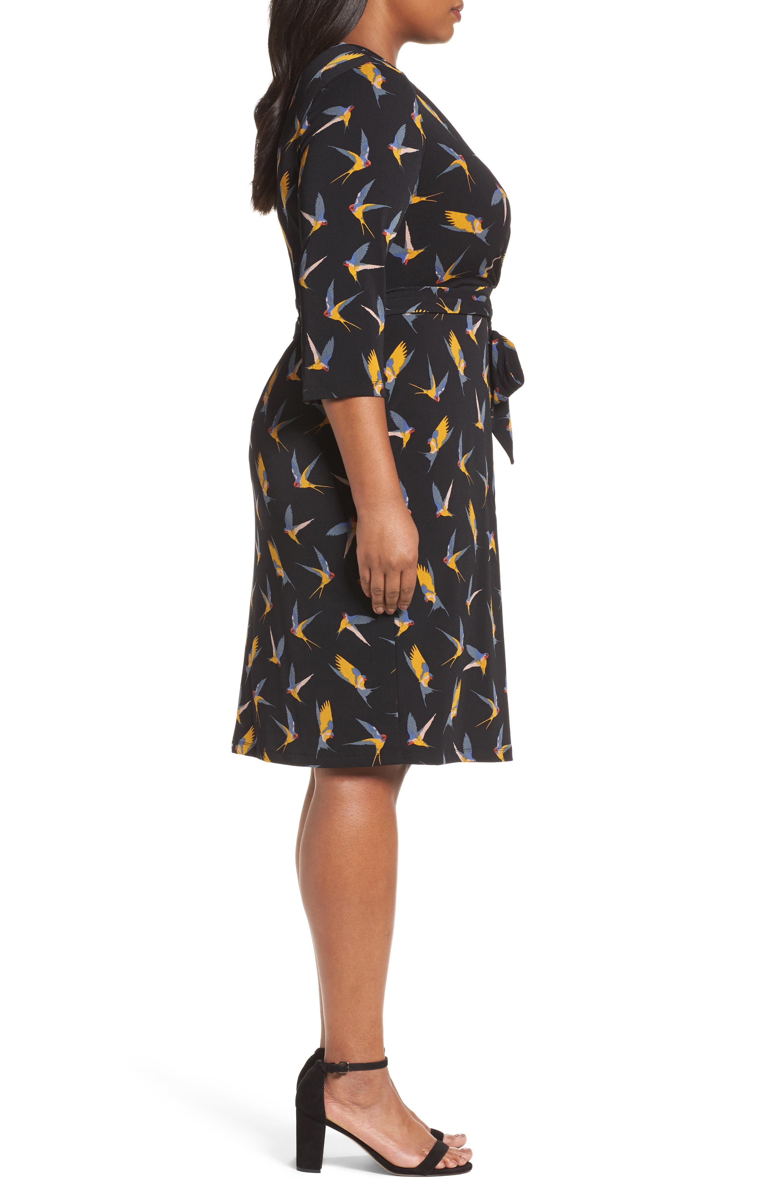 Print Wrap Dress,                             Alternate thumbnail 3, color,                             Gold Multi