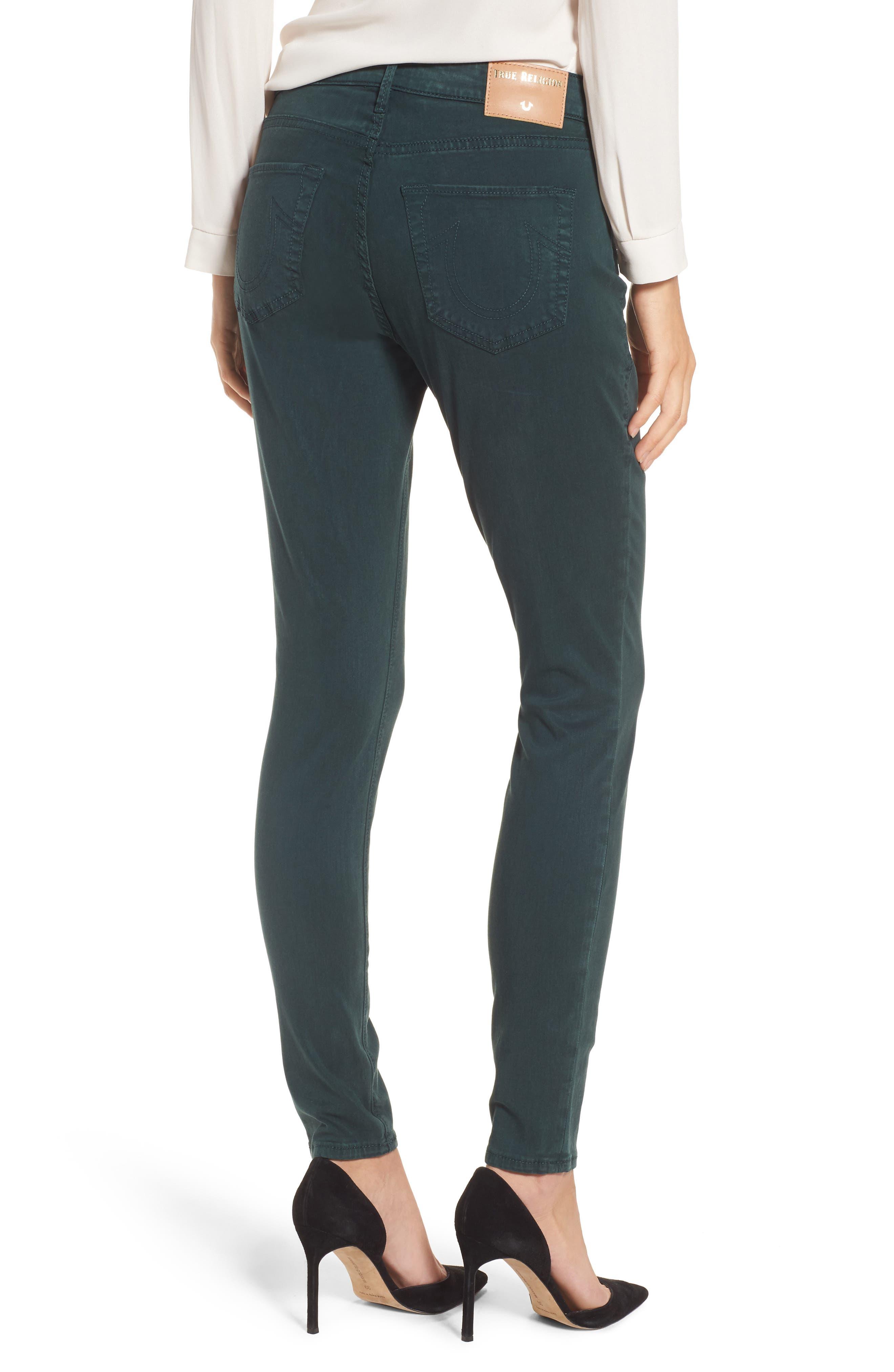 Jennie Curvy Skinny Jeans,                             Alternate thumbnail 2, color,                             Hunter Green