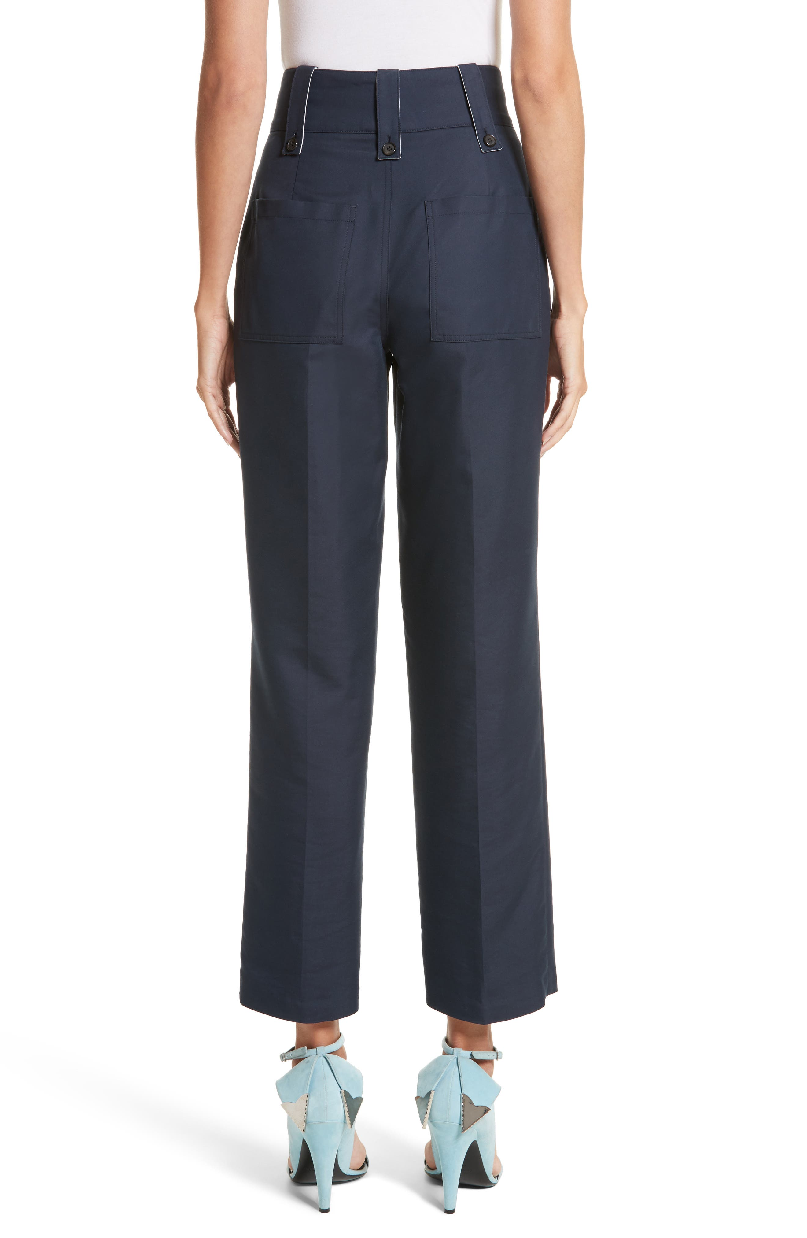 Cotton & Silk Sailor Pants,                             Alternate thumbnail 3, color,                             Navy