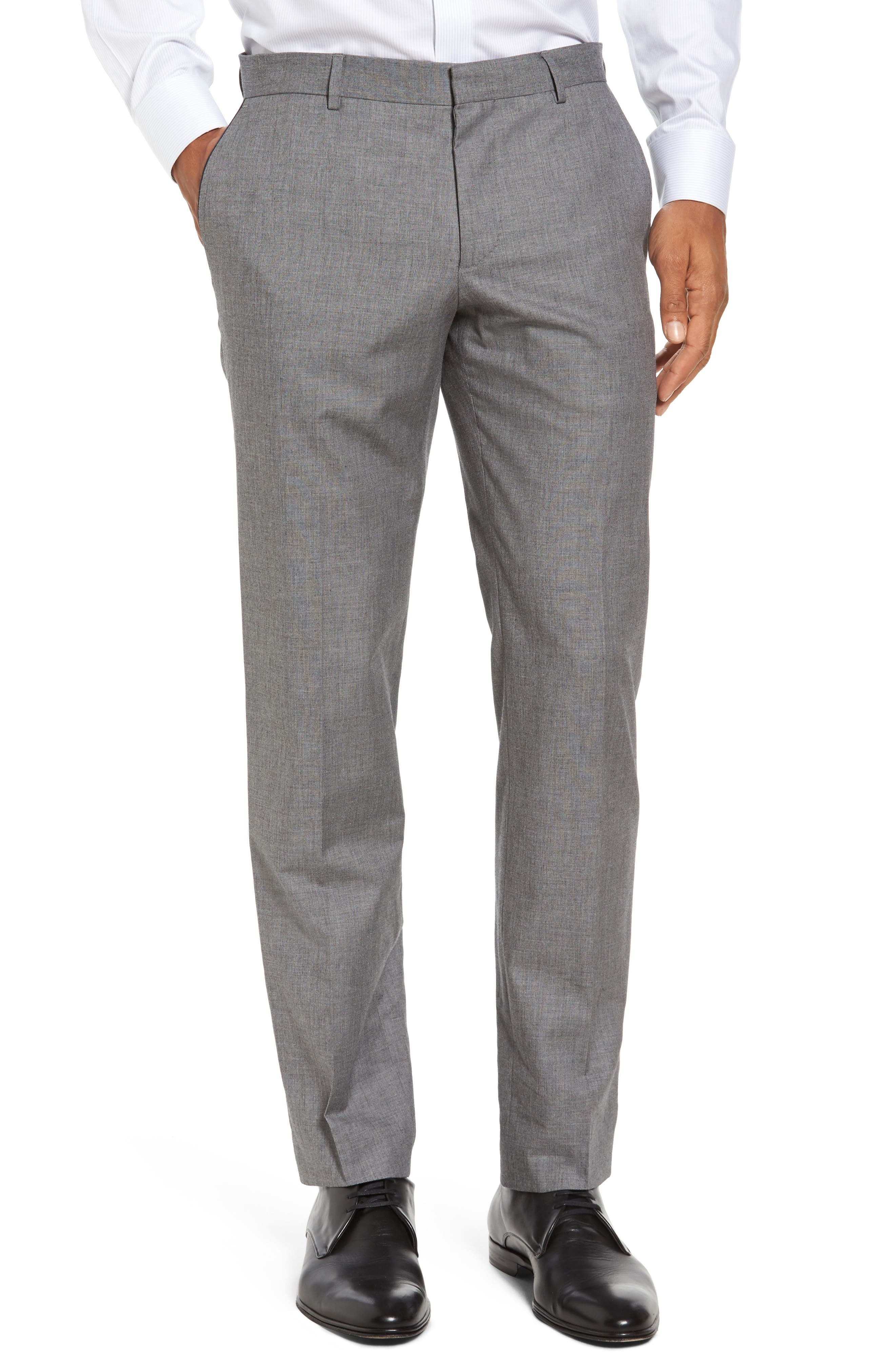 Blake Flat Front Trim Fit Solid Wool Trousers,                         Main,                         color, Open Grey
