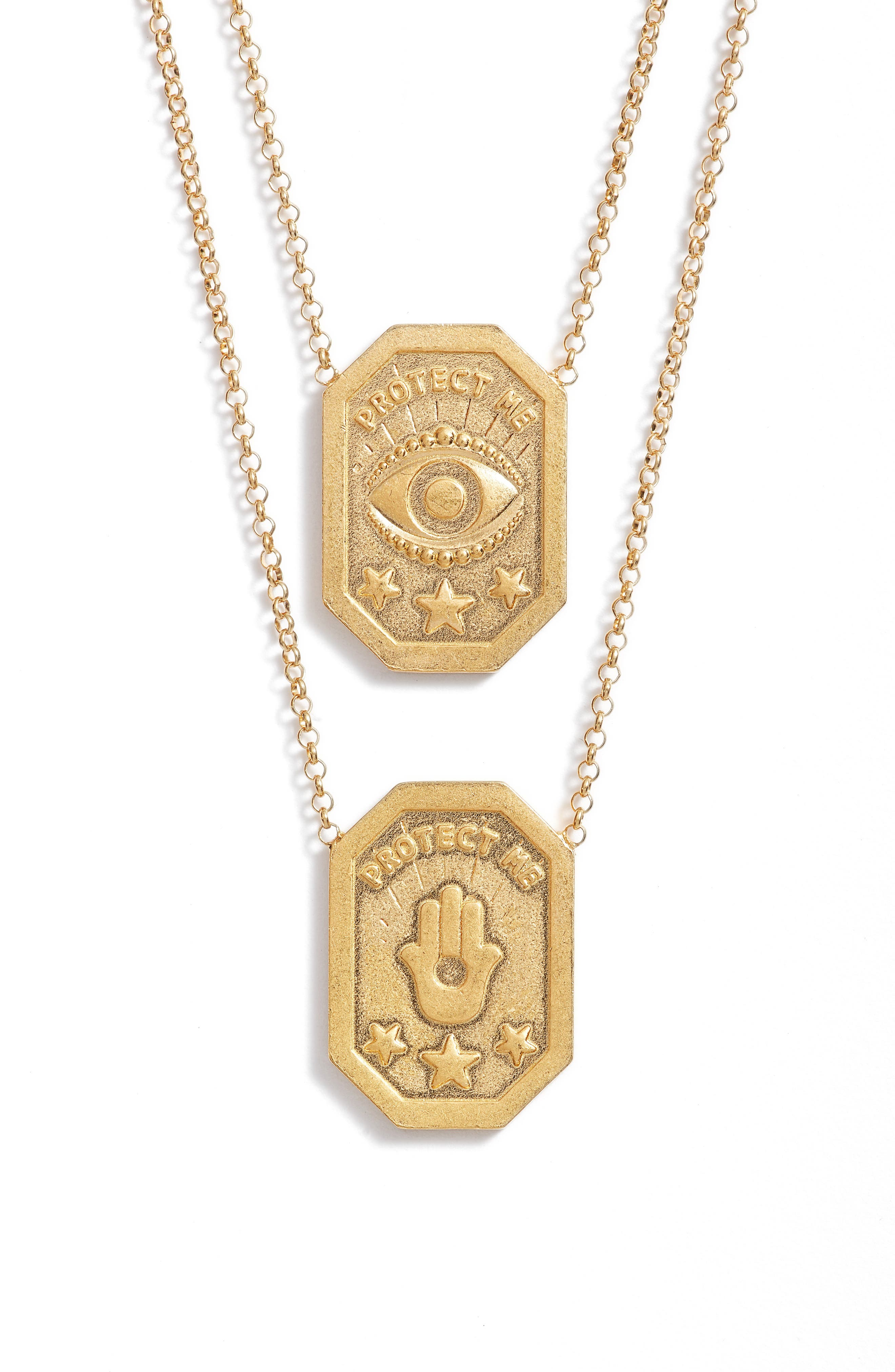 Protect My Heart, Watch My Back Scapular Two-Way Necklace,                             Alternate thumbnail 3, color,                             Gold