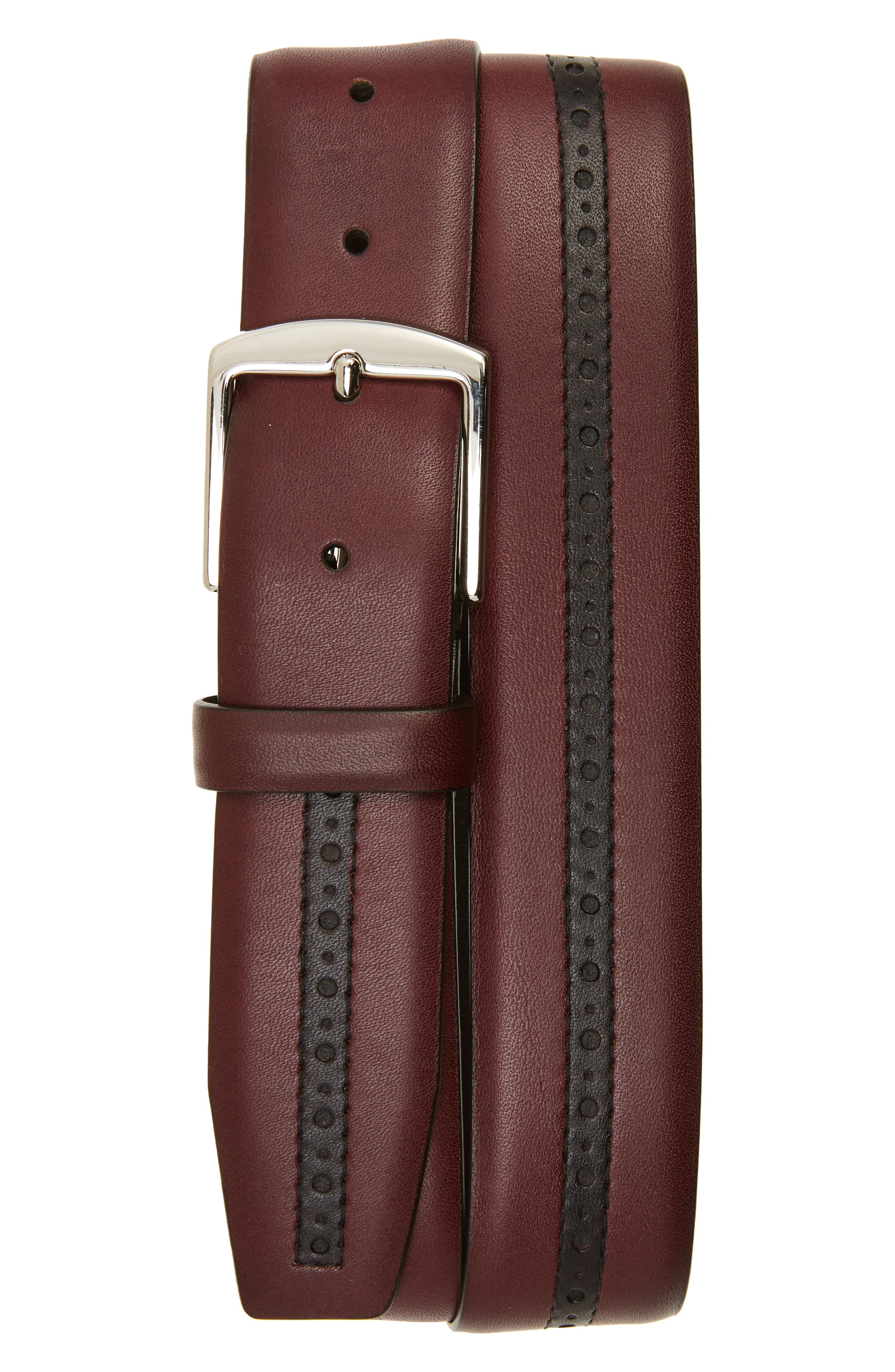 Perforated Leather Belt,                         Main,                         color, Burgundy