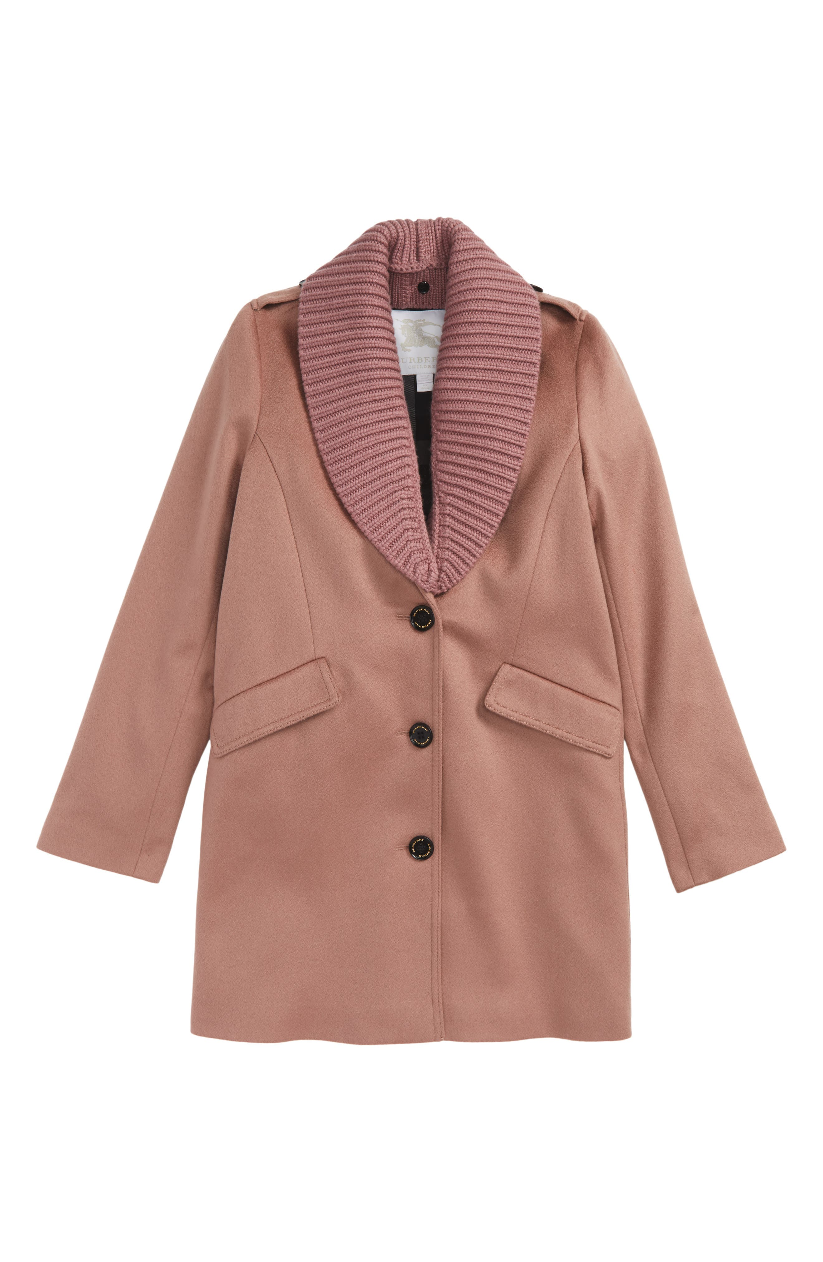 Alternate Image 1 Selected - Burberry Bridget Shawl Collar Cashmere Coat (Little Girls & Big Girls)