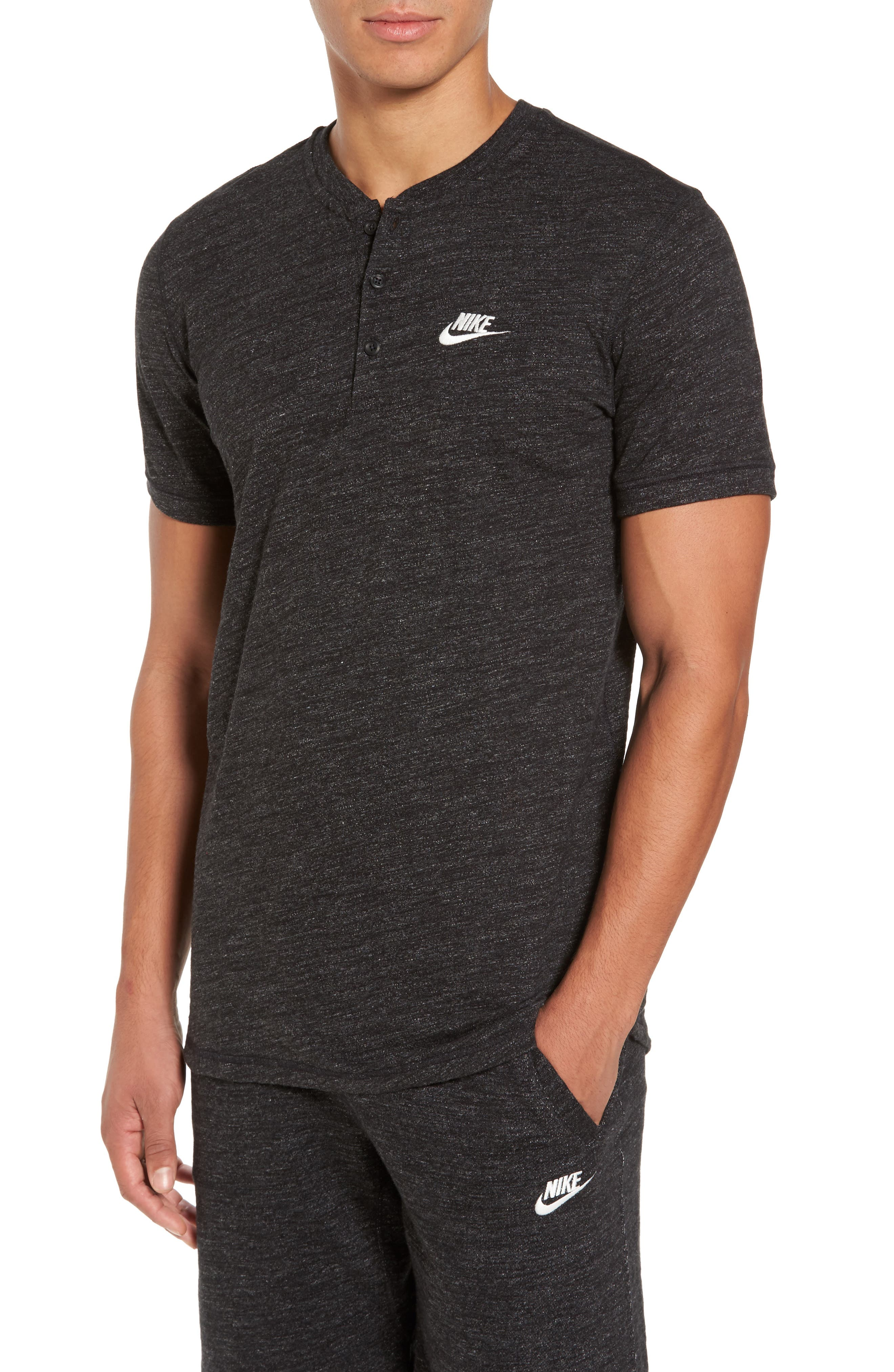 Legacy Knit Henley,                         Main,                         color, Black Heather/ Sail