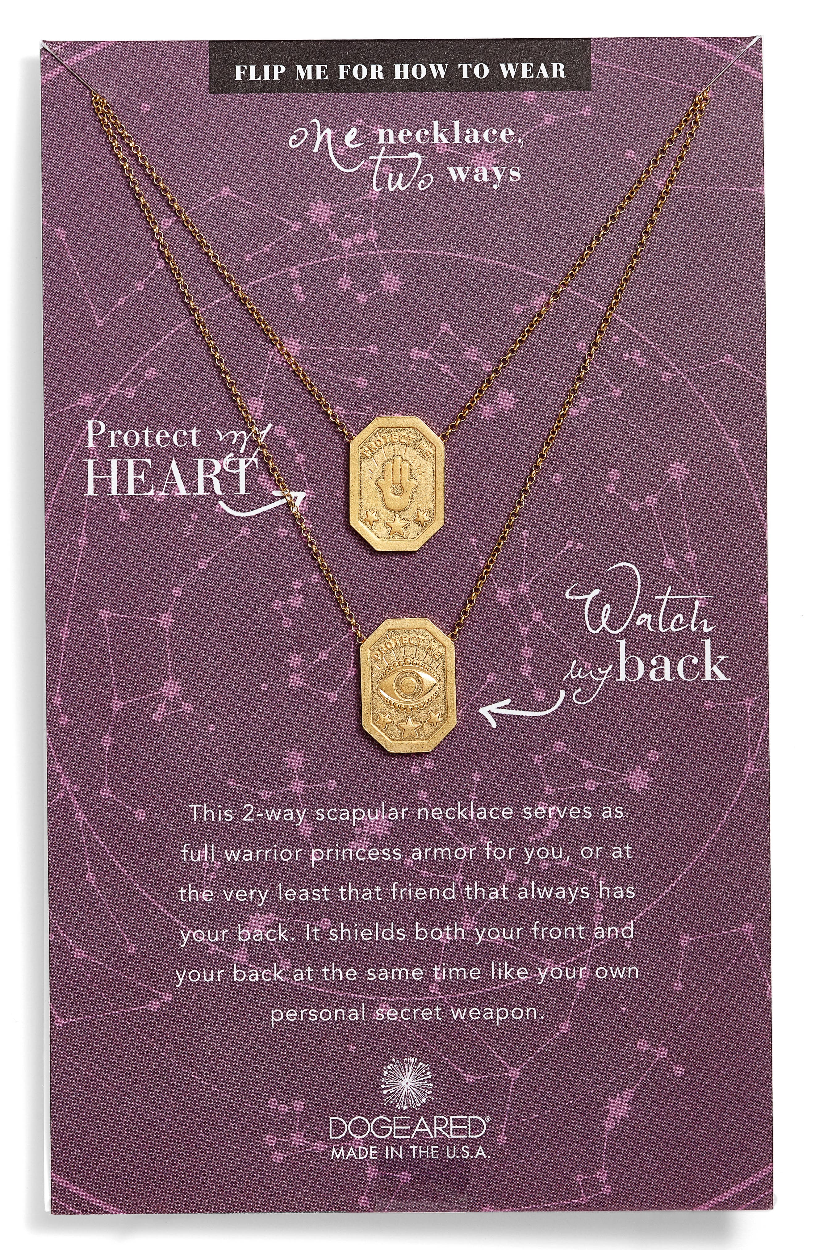 Main Image - Dogeared Protect My Heart, Watch My Back Scapular Two-Way Necklace