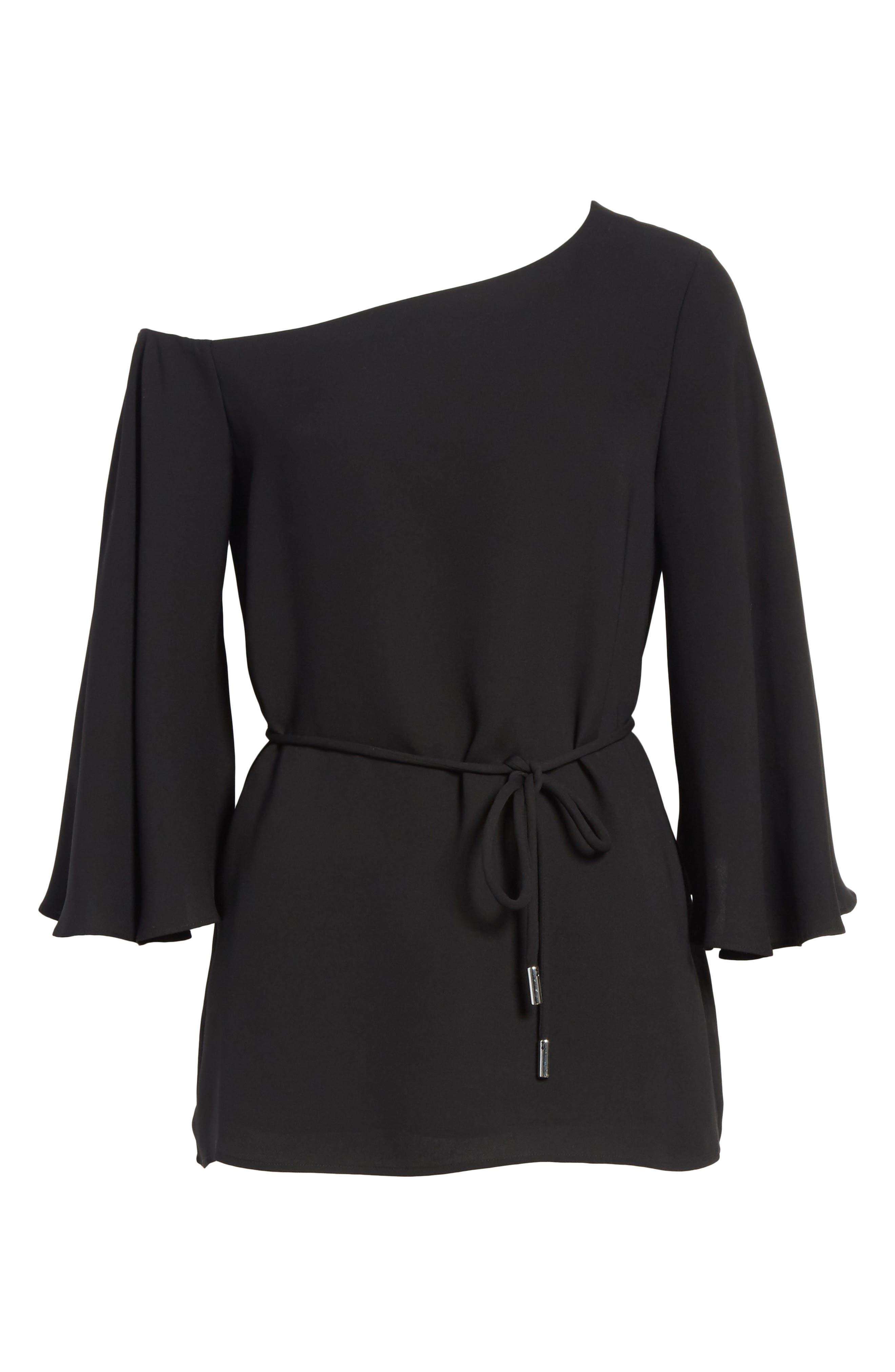 Lara One-Shoulder Tie Silk Top,                             Alternate thumbnail 8, color,                             Black