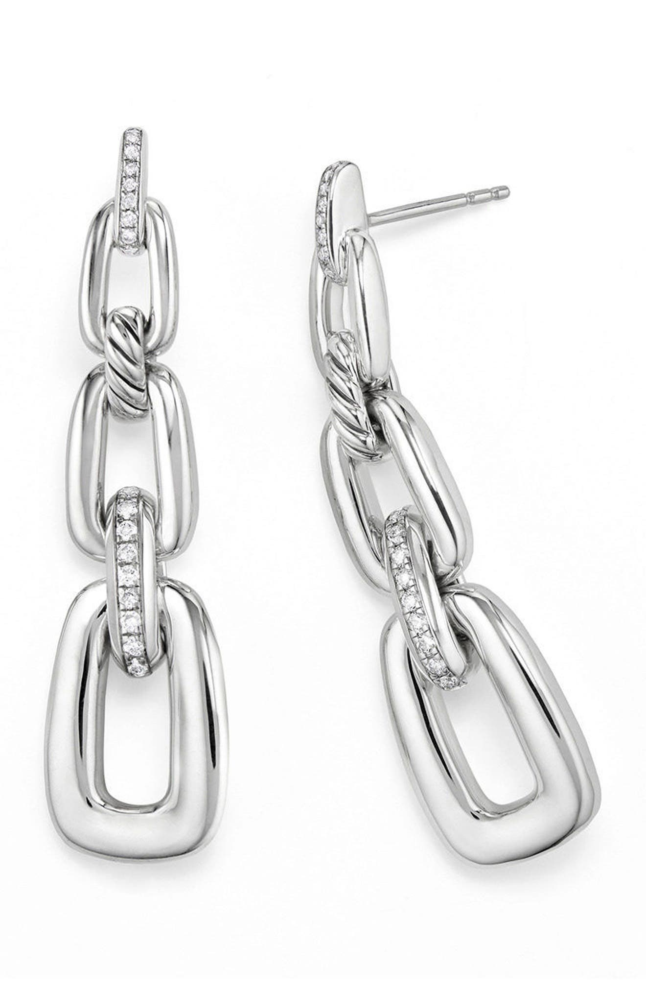 Wellesley Link Chain Drop Earrings with Diamonds,                             Alternate thumbnail 2, color,                             Silver