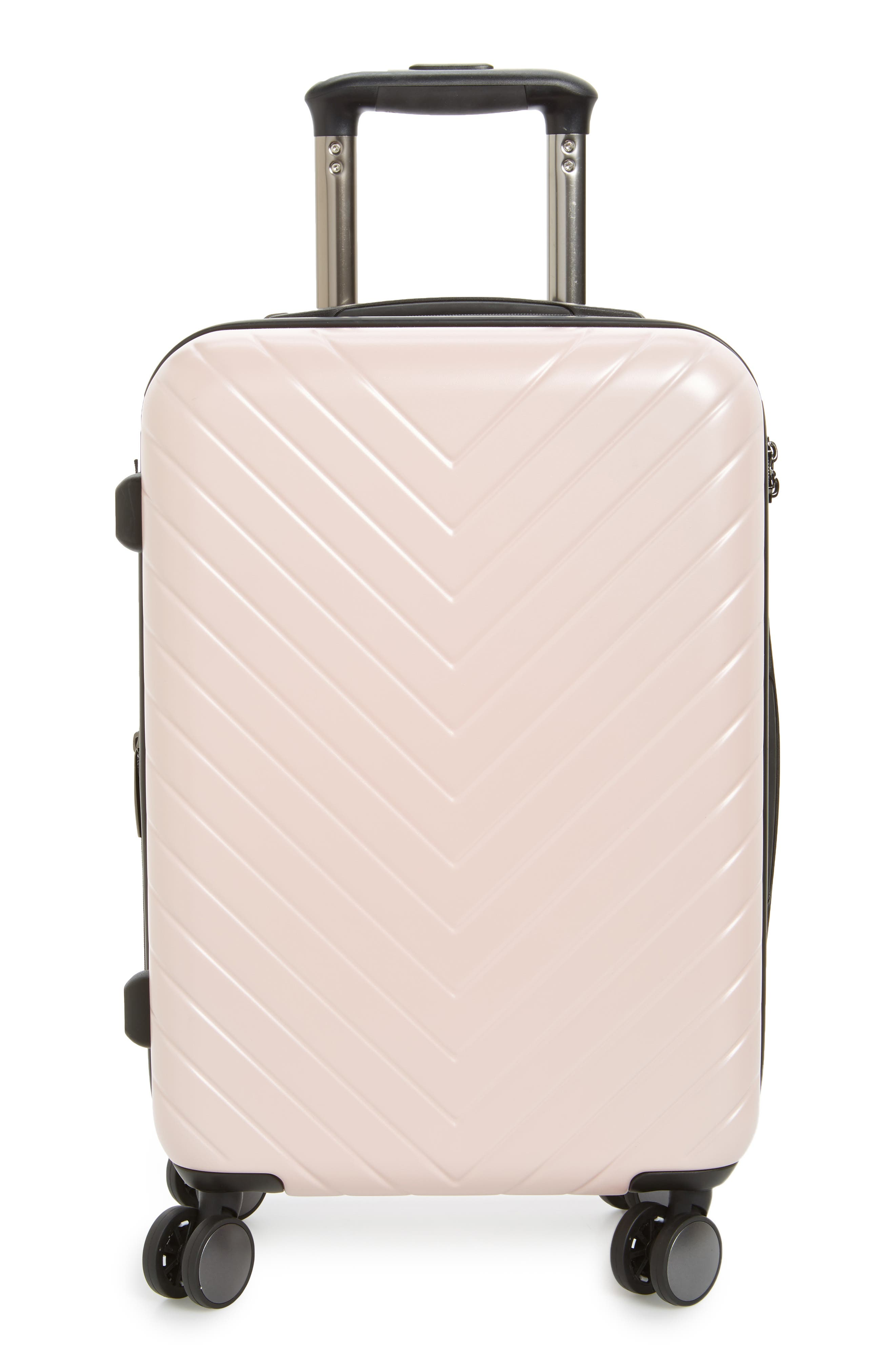 Chevron 18-Inch Spinner Carry-On,                             Main thumbnail 1, color,                             Pink Hero