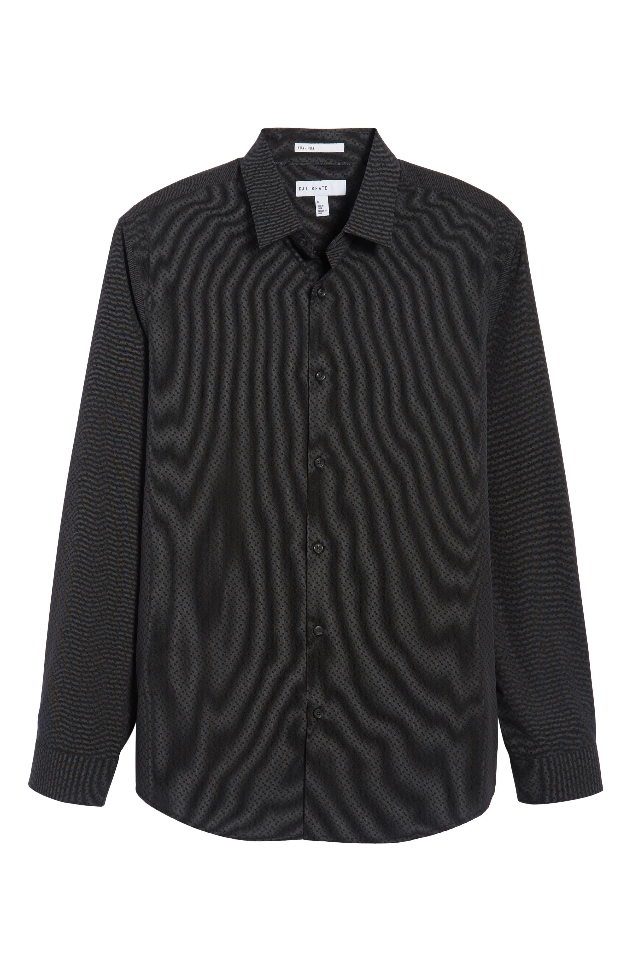 Trim Fit Print Sport Shirt,                             Alternate thumbnail 6, color,                             Black Caviar Dot Dobby