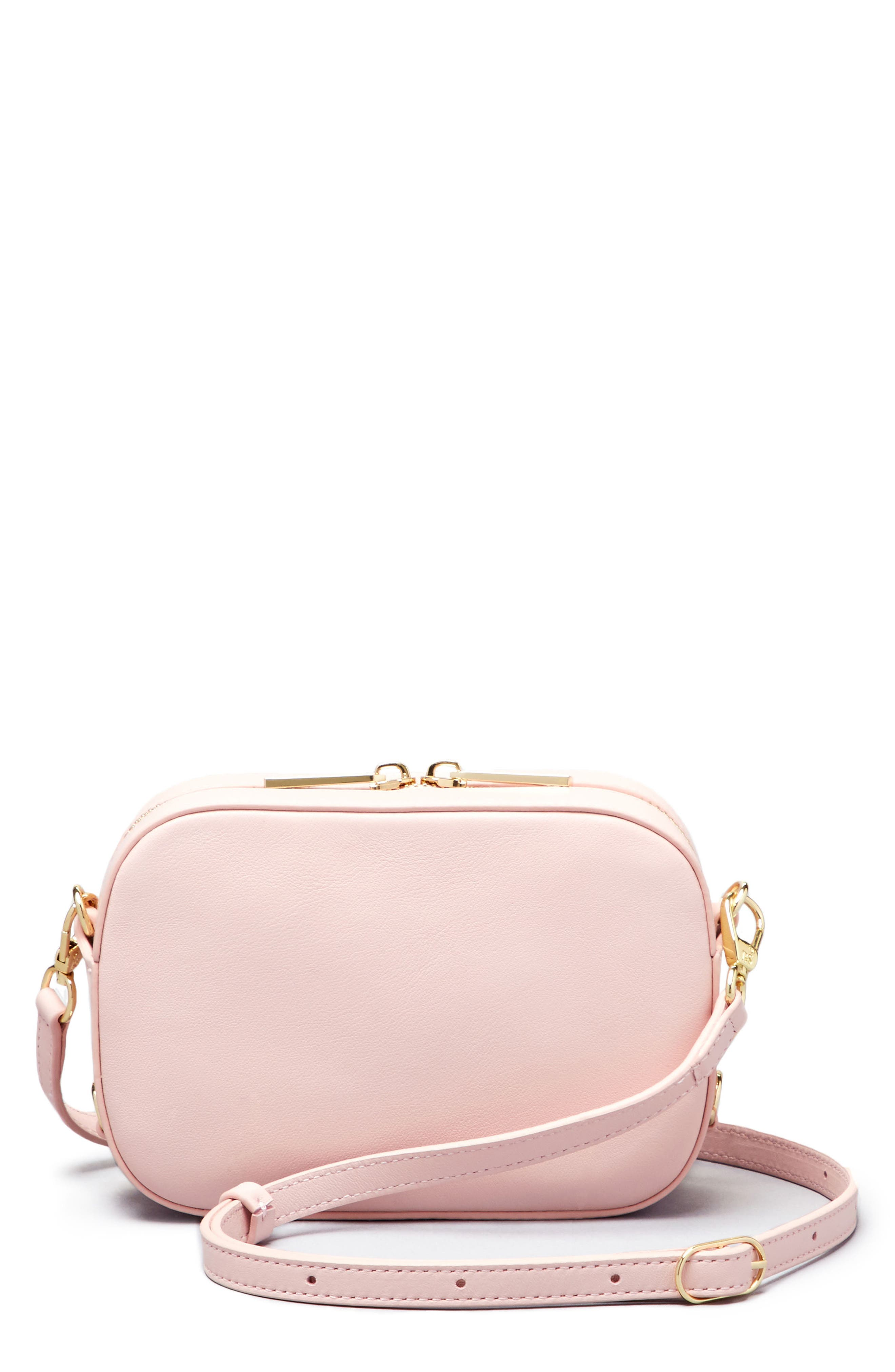 Personalized Leather Camera Bag,                         Main,                         color, Cotton Candy/ White