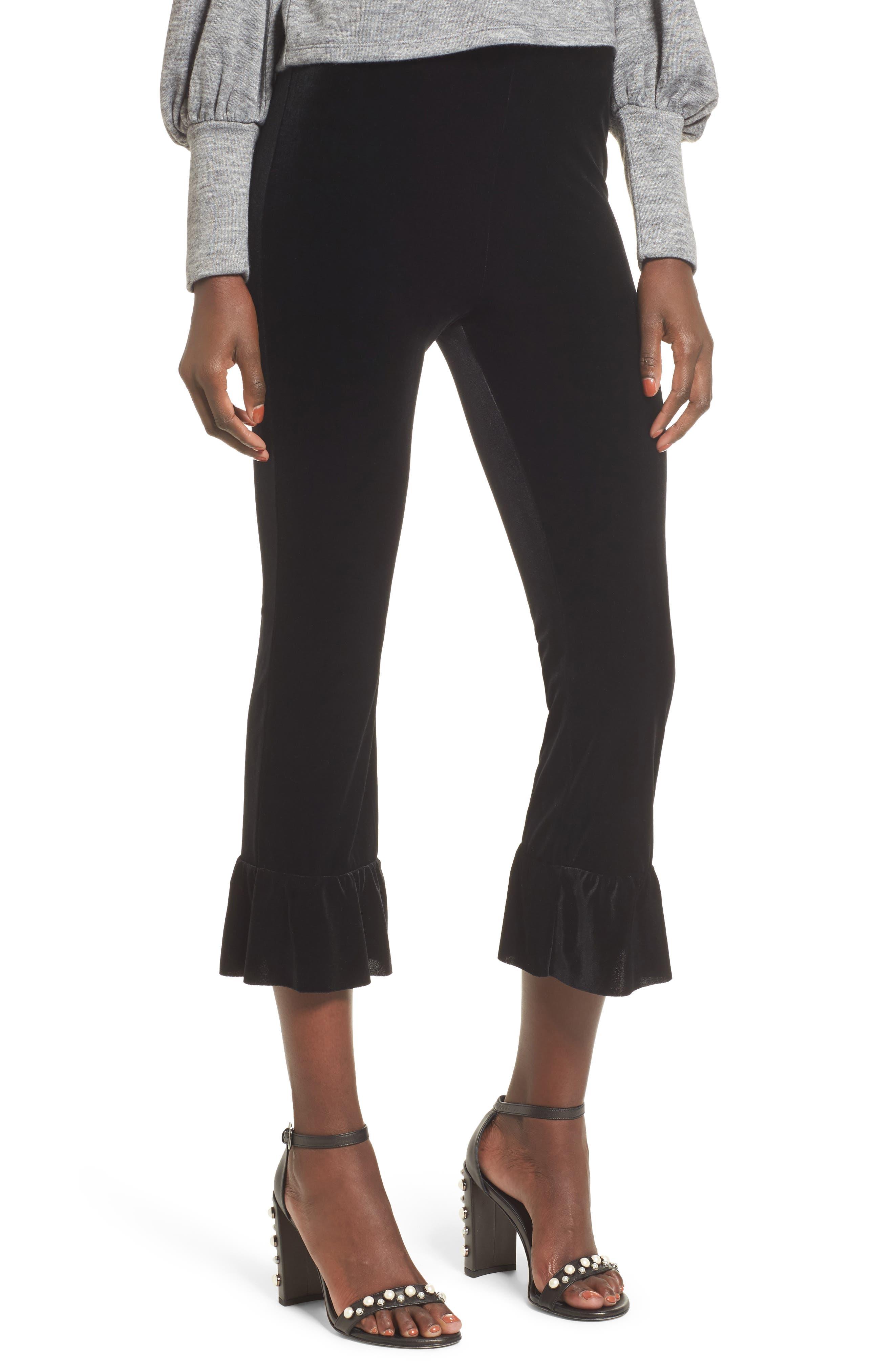 Ruffle Hem Crop Pants,                             Main thumbnail 1, color,                             Black