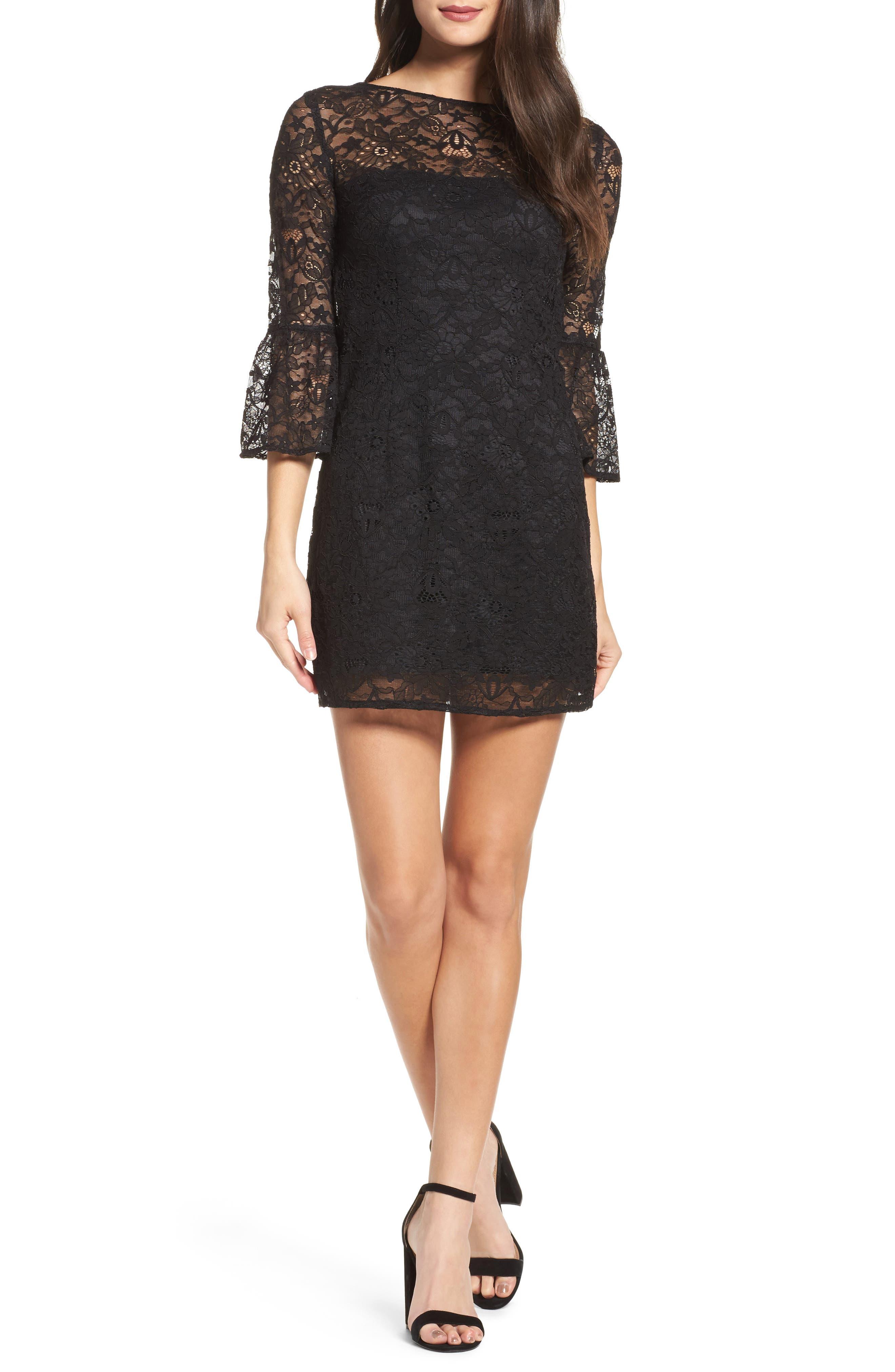Billie Bell Sleeve Lace Dress,                             Main thumbnail 1, color,                             Black