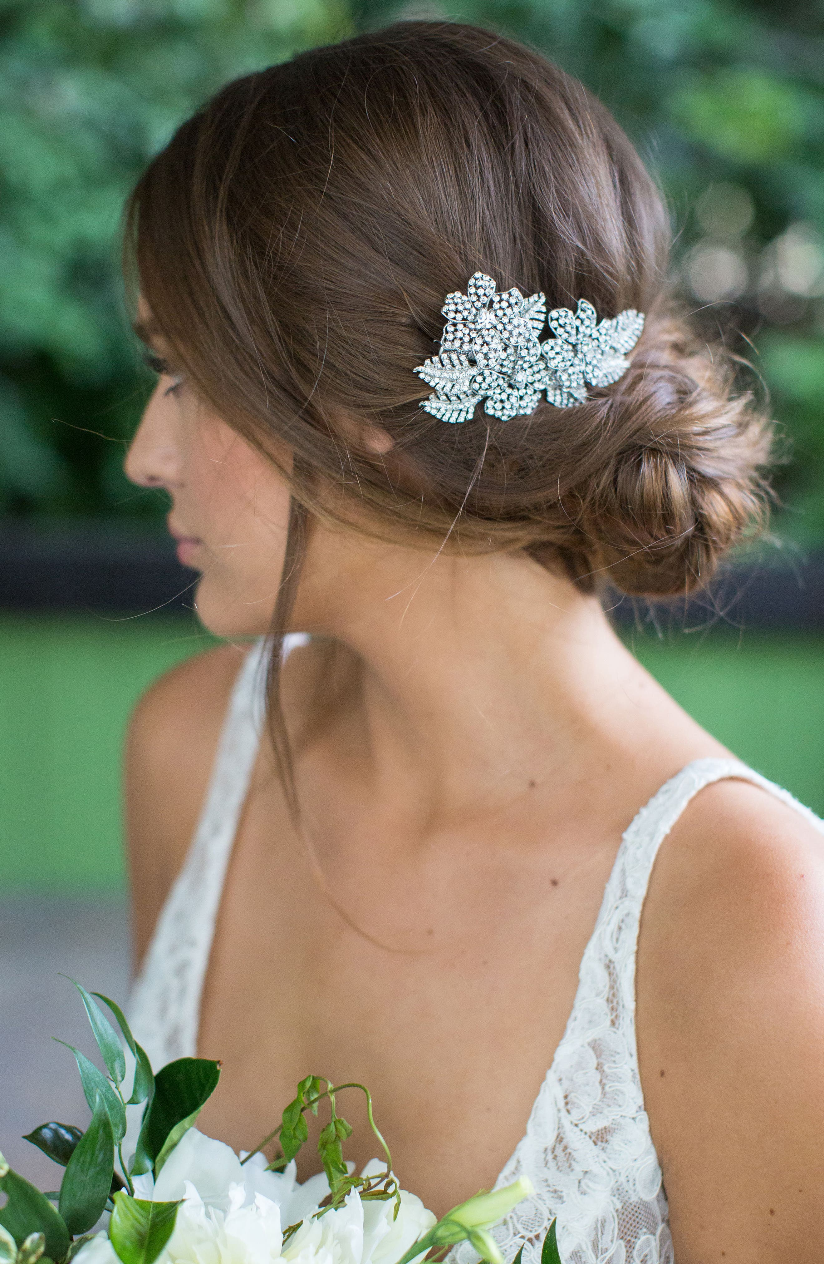 'Esther' Crystal Embellished Hair Clip,                             Main thumbnail 1, color,                             Champagne Gold