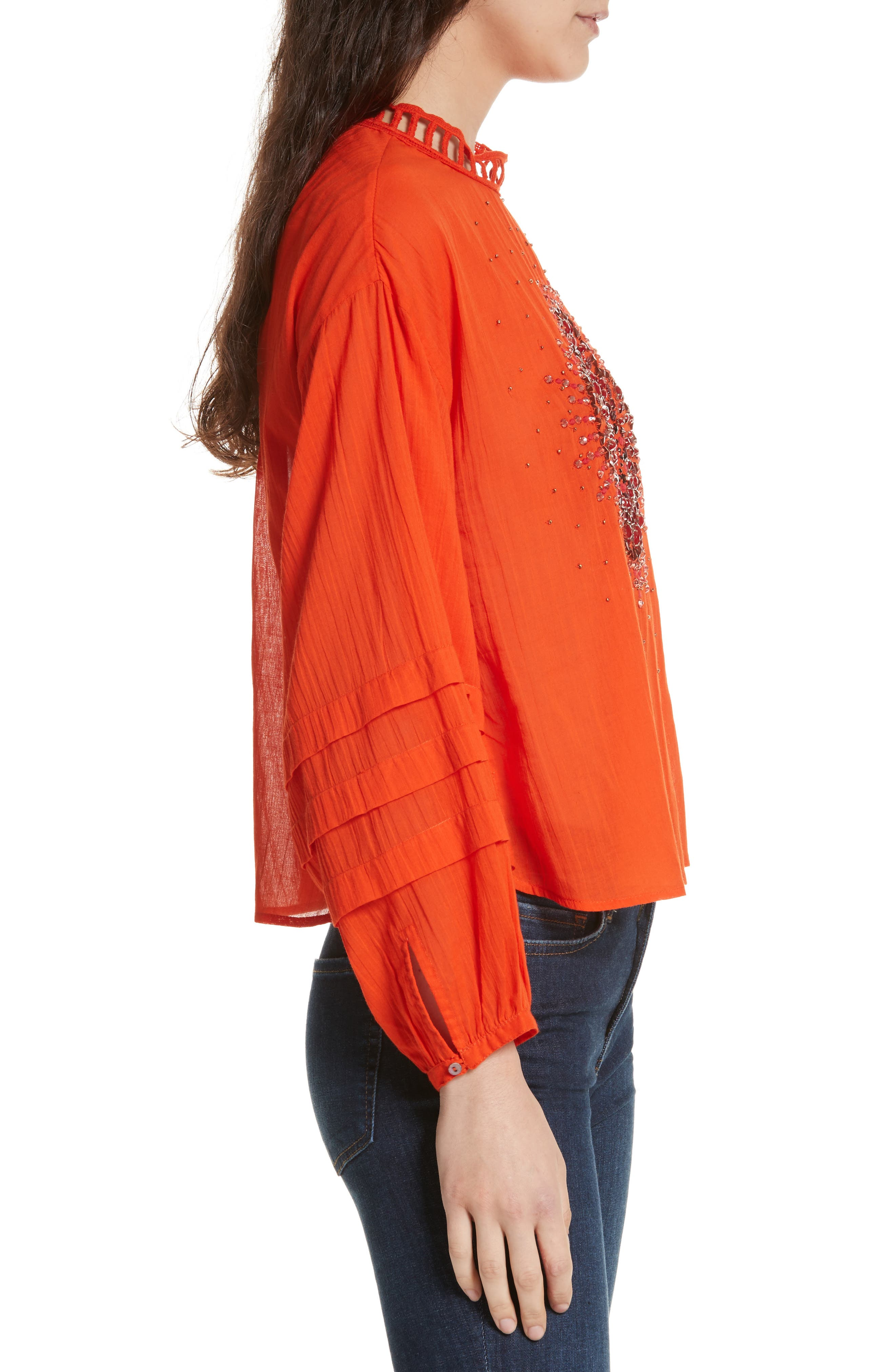 Heart of Gold Embellished Blouse,                             Alternate thumbnail 3, color,                             Red