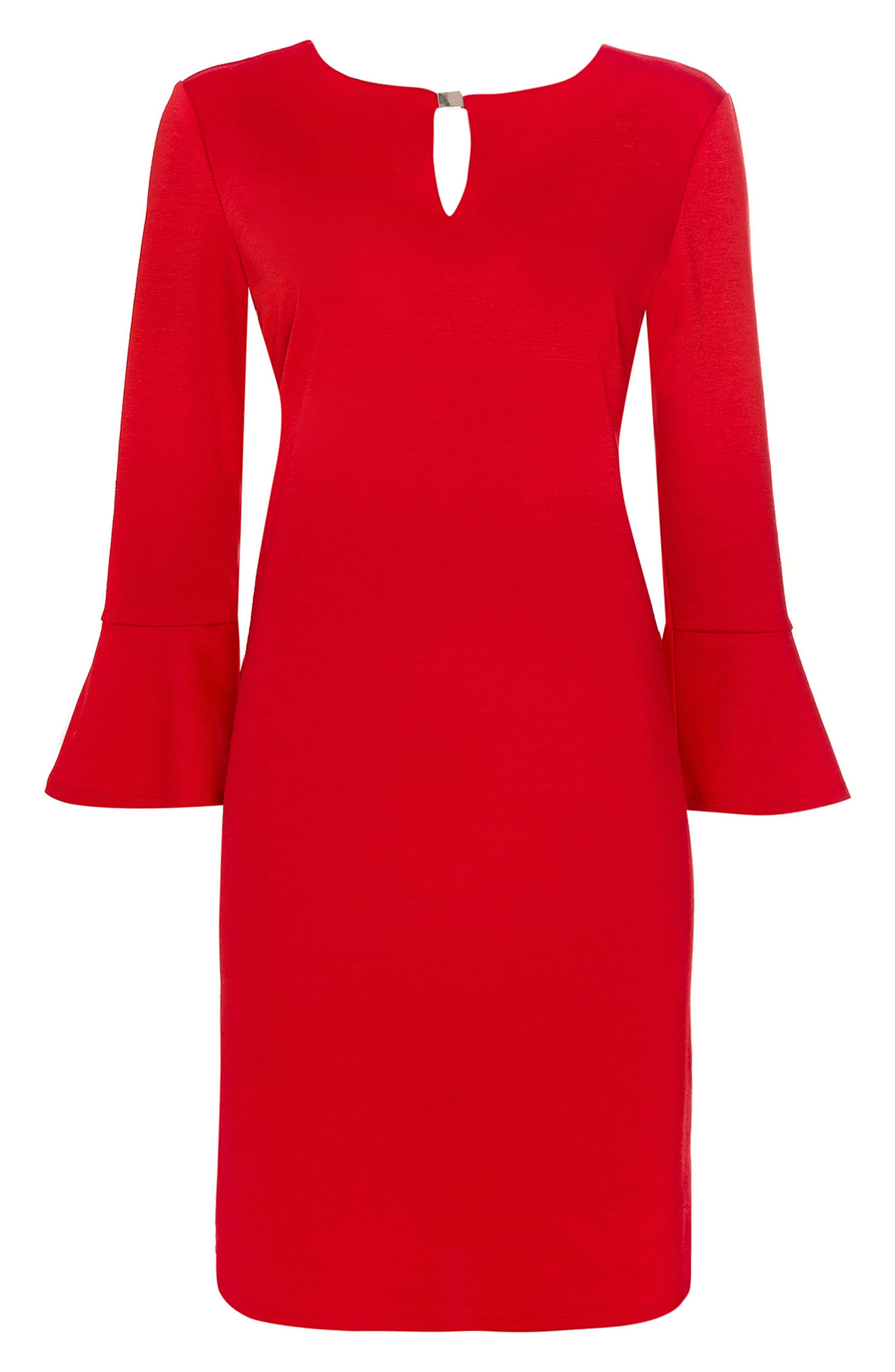 Bell Sleeve Keyhole Neck Dress,                             Alternate thumbnail 5, color,                             Red