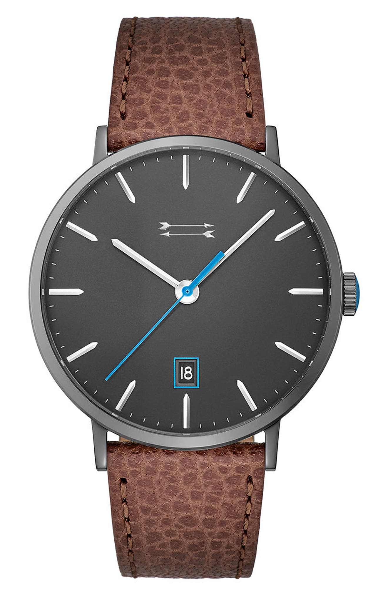 Norrebro Leather Strap Watch, 40mm,                         Main,                         color, Brown/ Grey