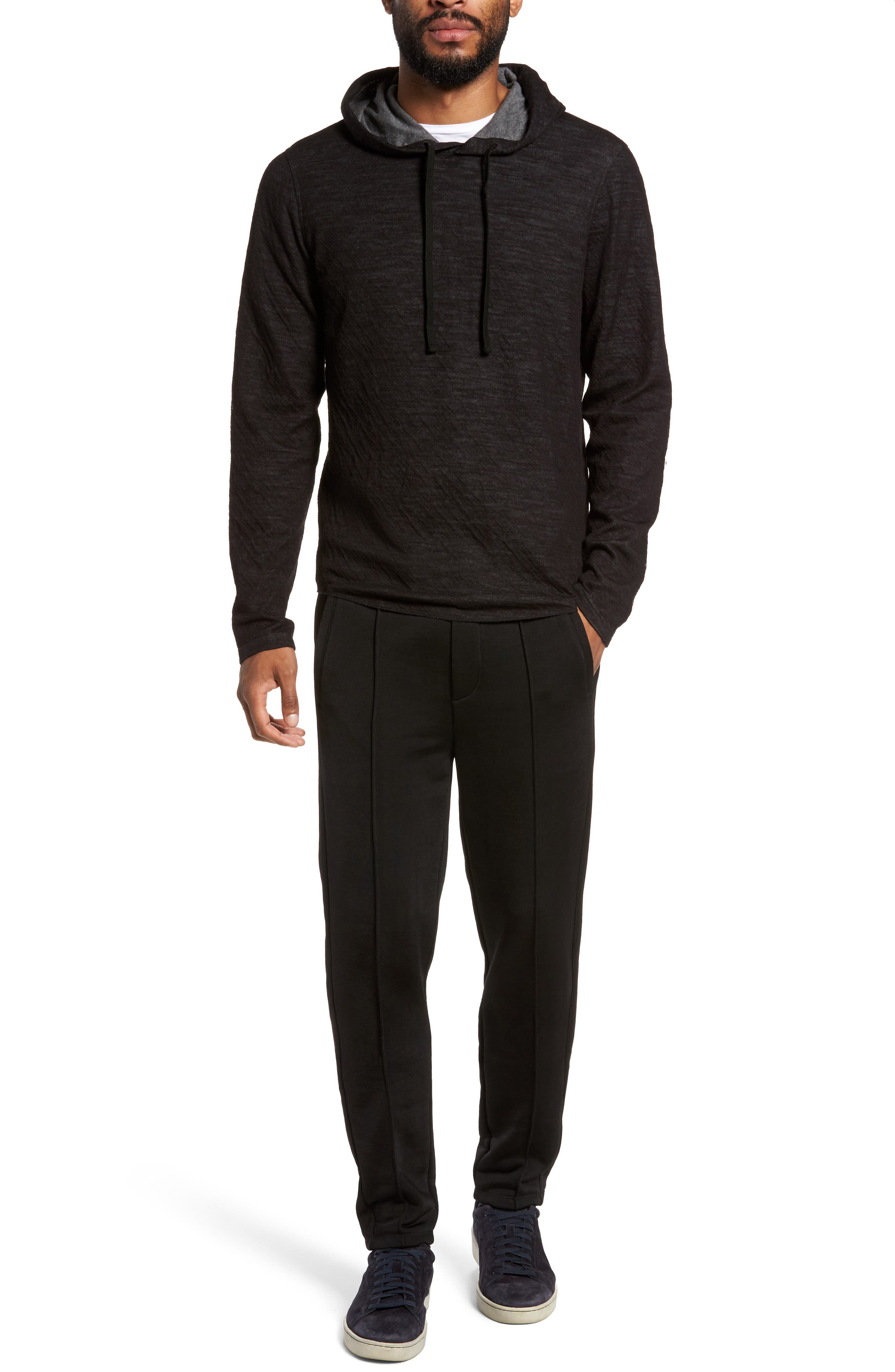 Contrast Double Knit Cotton & Wool Hoodie,                             Alternate thumbnail 7, color,                             Black/ H Carbon