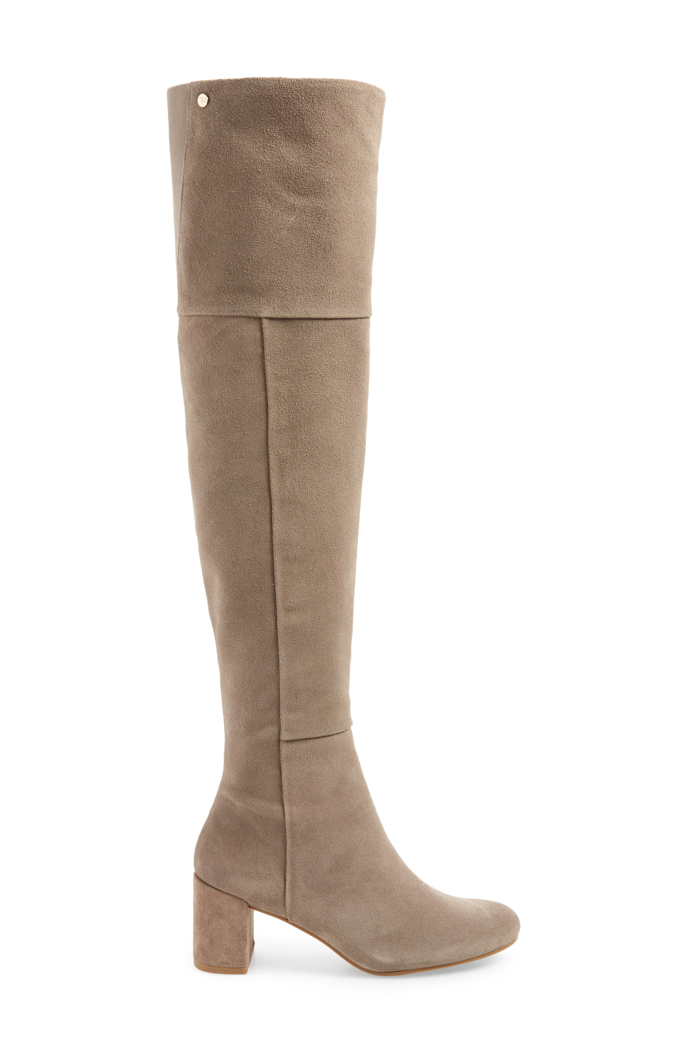 Catherine Over the Knee Boot,                             Alternate thumbnail 3, color,                             Grey Suede
