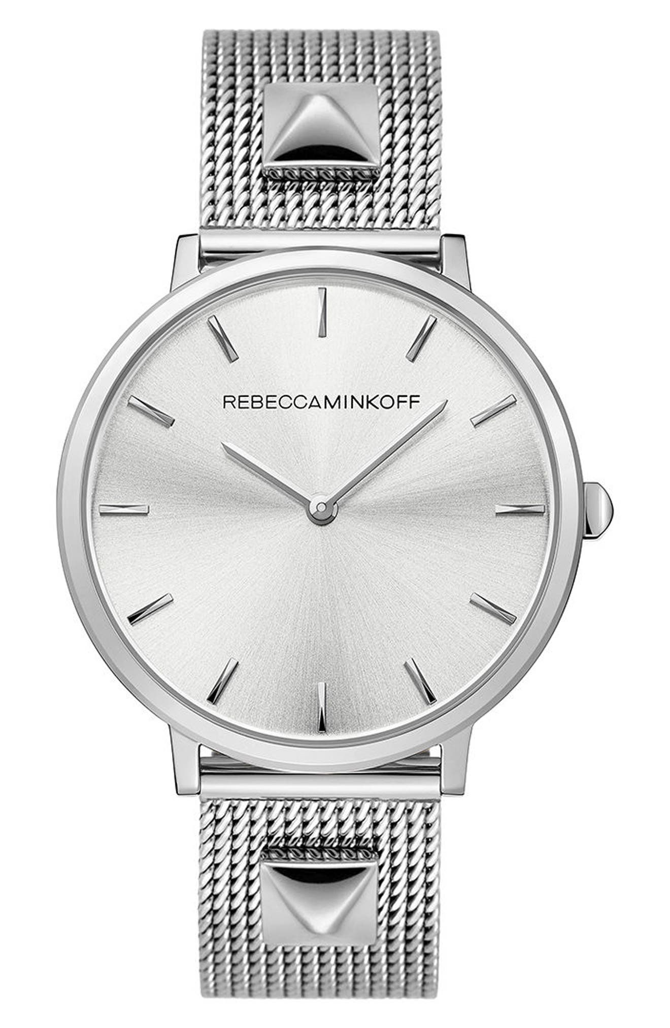Major Mesh Strap Watch, 35mm,                         Main,                         color, Silver/ White/ Silver