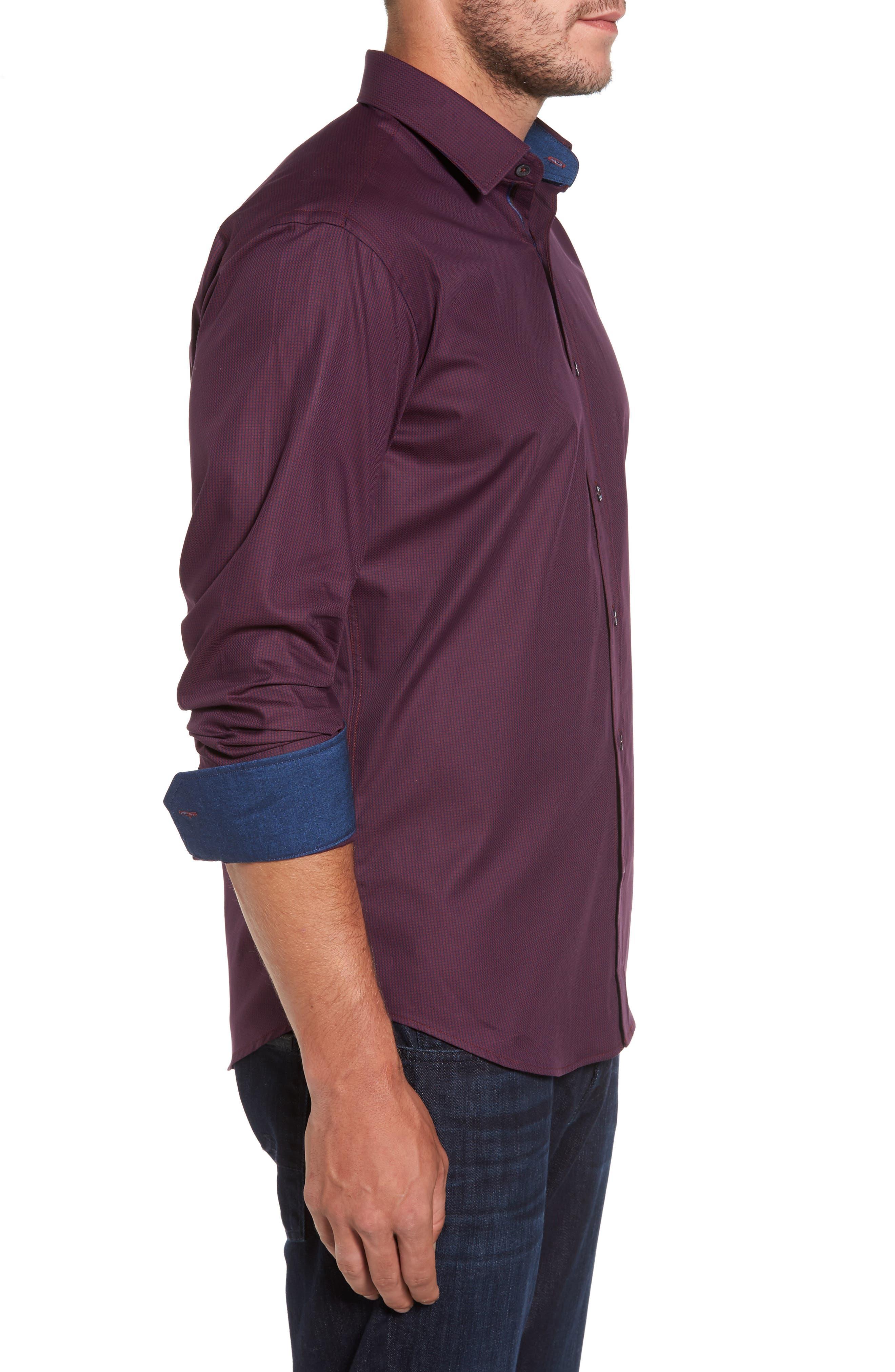 Shaped Fit Sport Shirt,                             Alternate thumbnail 3, color,                             Wine
