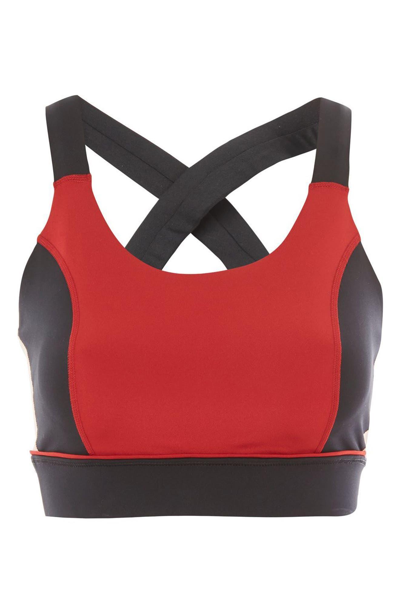 Colorblock X-Back Sports Bra,                             Alternate thumbnail 3, color,                             Chilli Red
