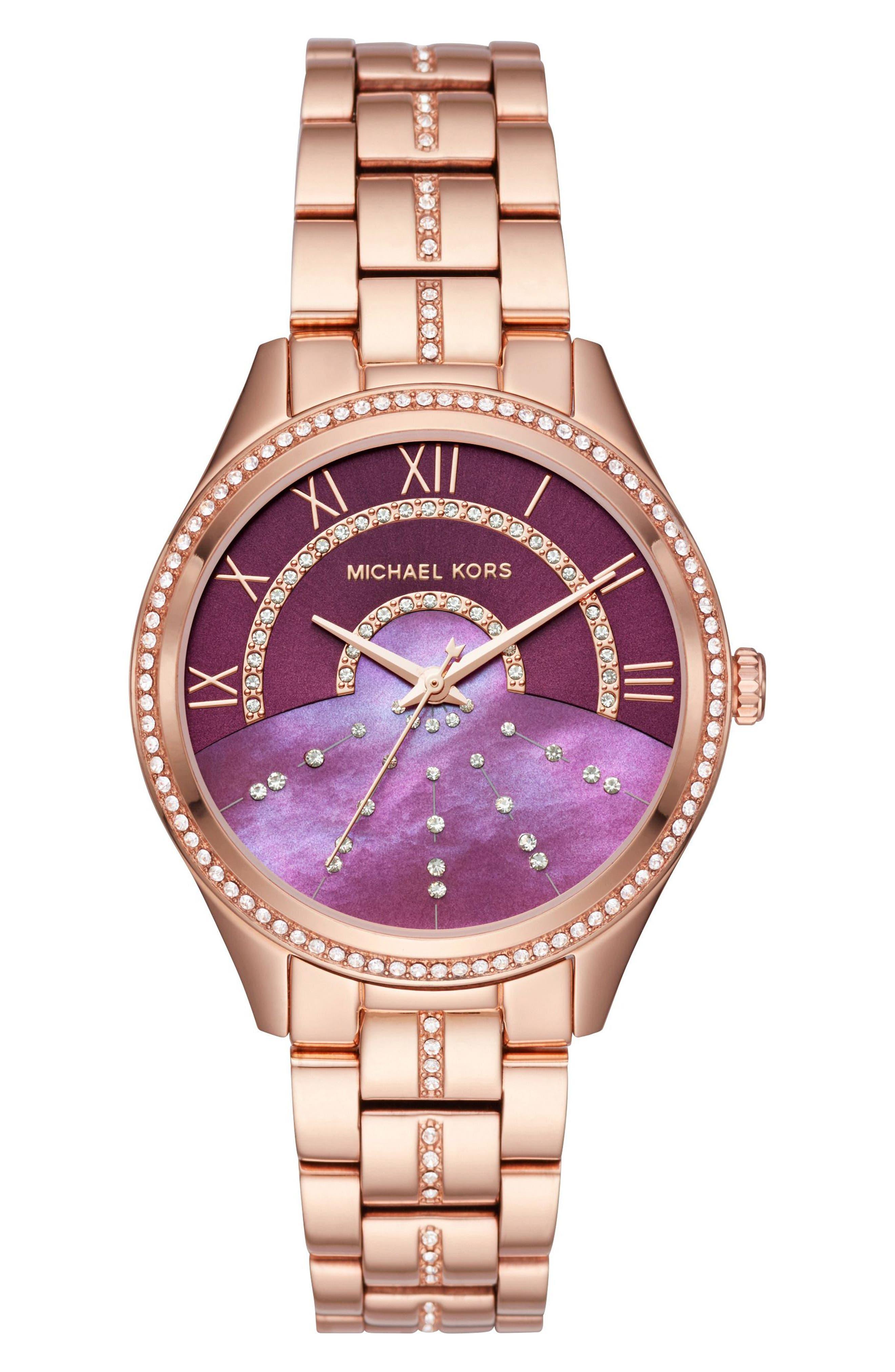 Main Image - Michael Kors Lauryn Celestial Crystal Bracelet Watch, 38mm