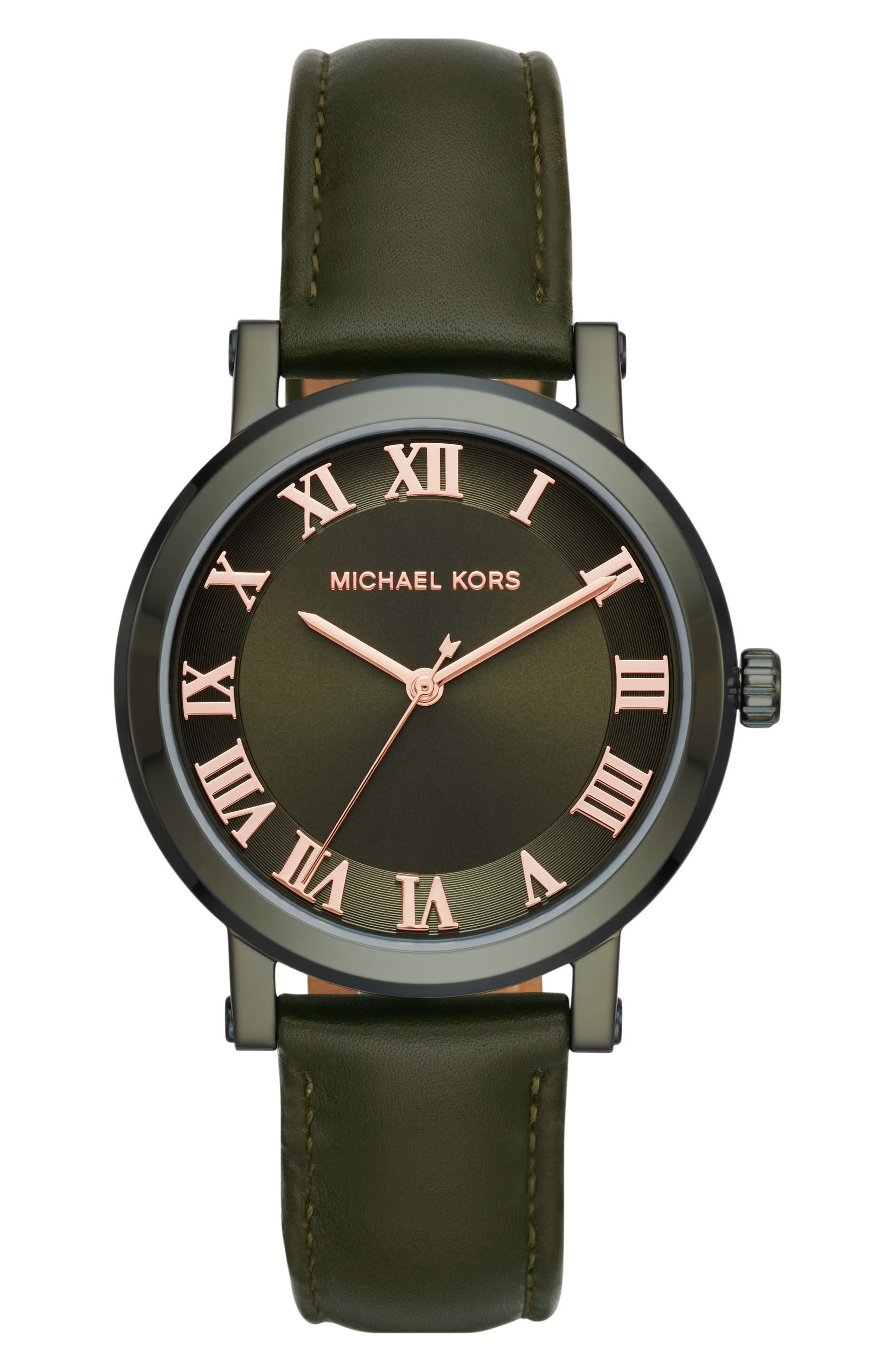 Micahel Kors Norie Leather Strap Watch, 38mm,                         Main,                         color, Green