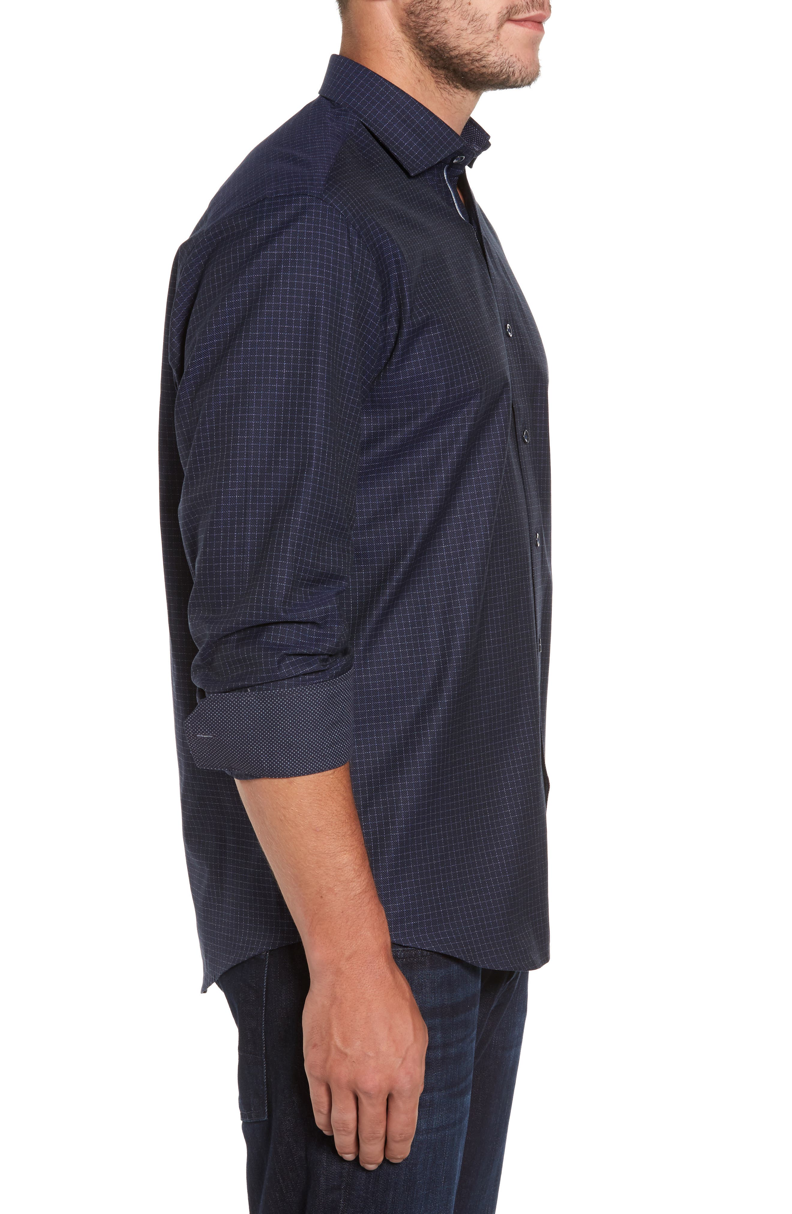 Classic Fit Sport Shirt,                             Alternate thumbnail 3, color,                             Midnight
