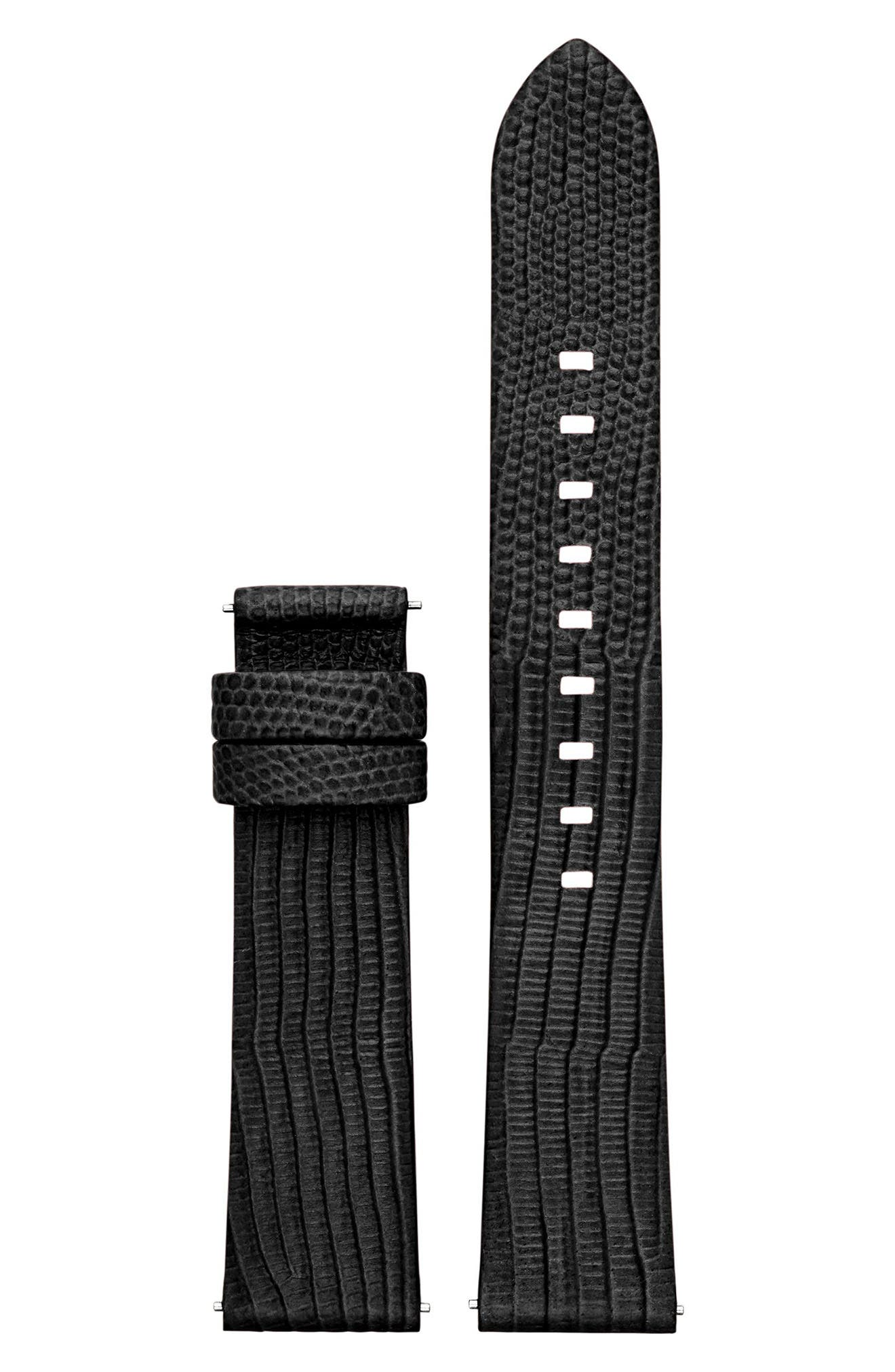 Sofie 18mm Leather Watch Strap,                             Main thumbnail 1, color,                             Black