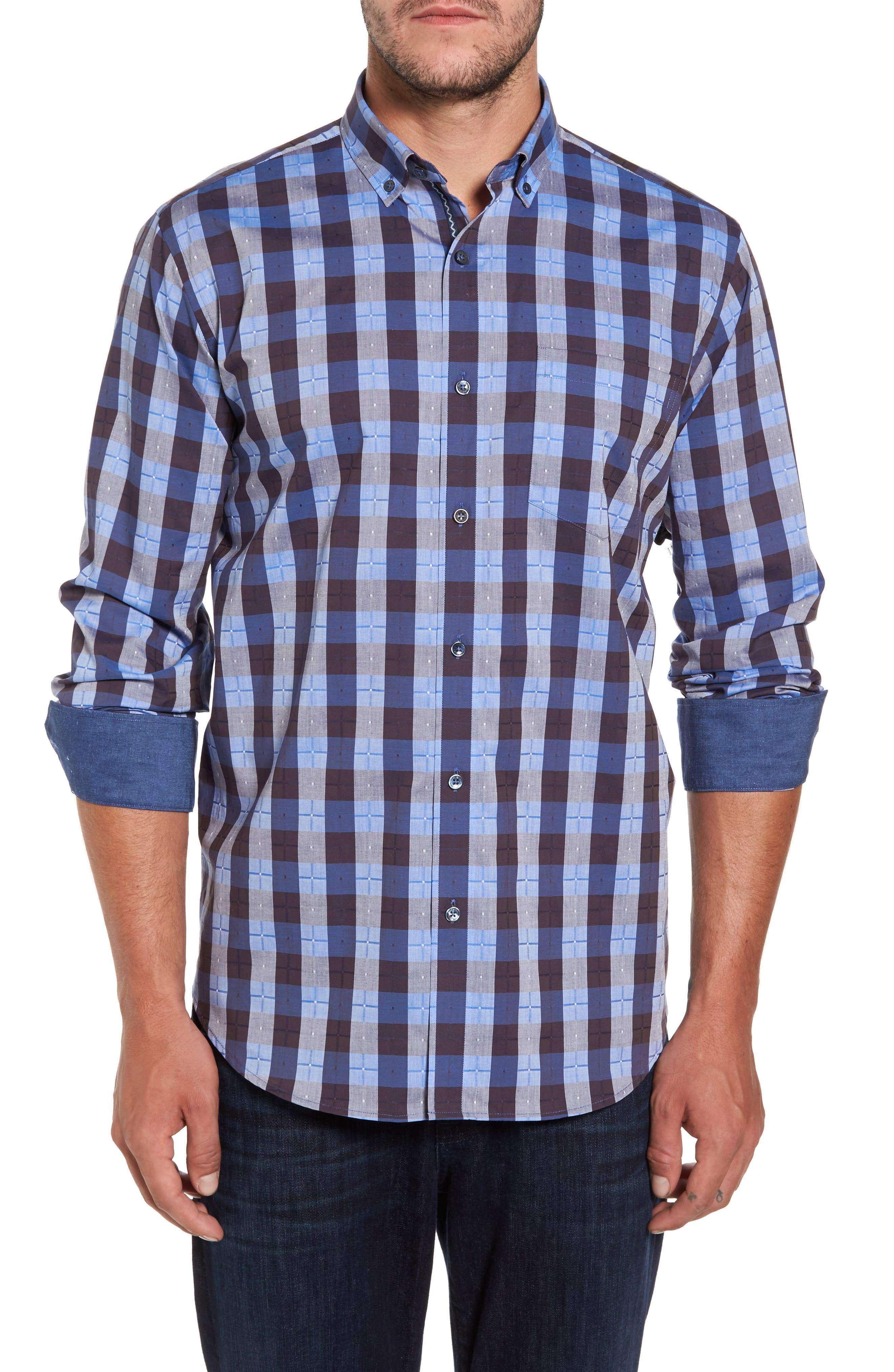 Classic Fit Check Sport Shirt,                         Main,                         color, Navy