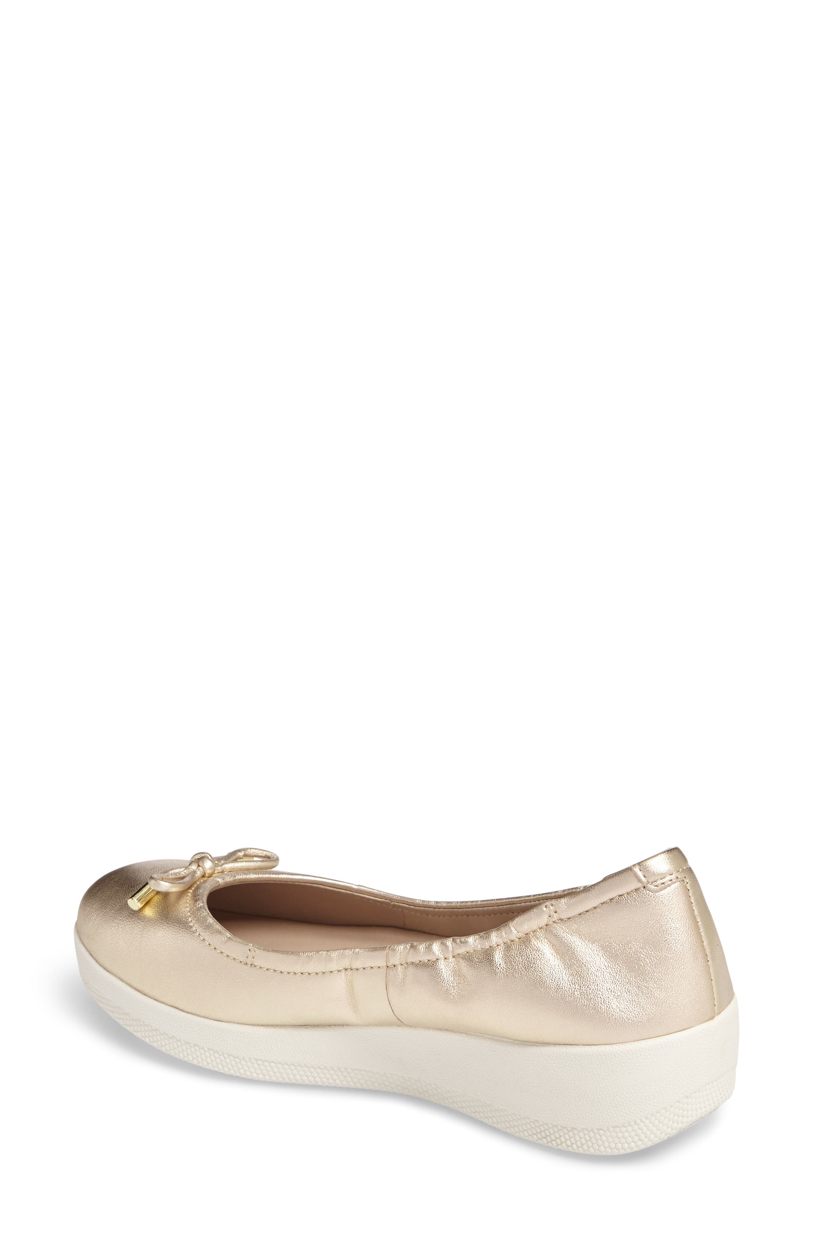 Superbendy Ballerina Flat,                             Alternate thumbnail 2, color,                             Pale Gold Leather