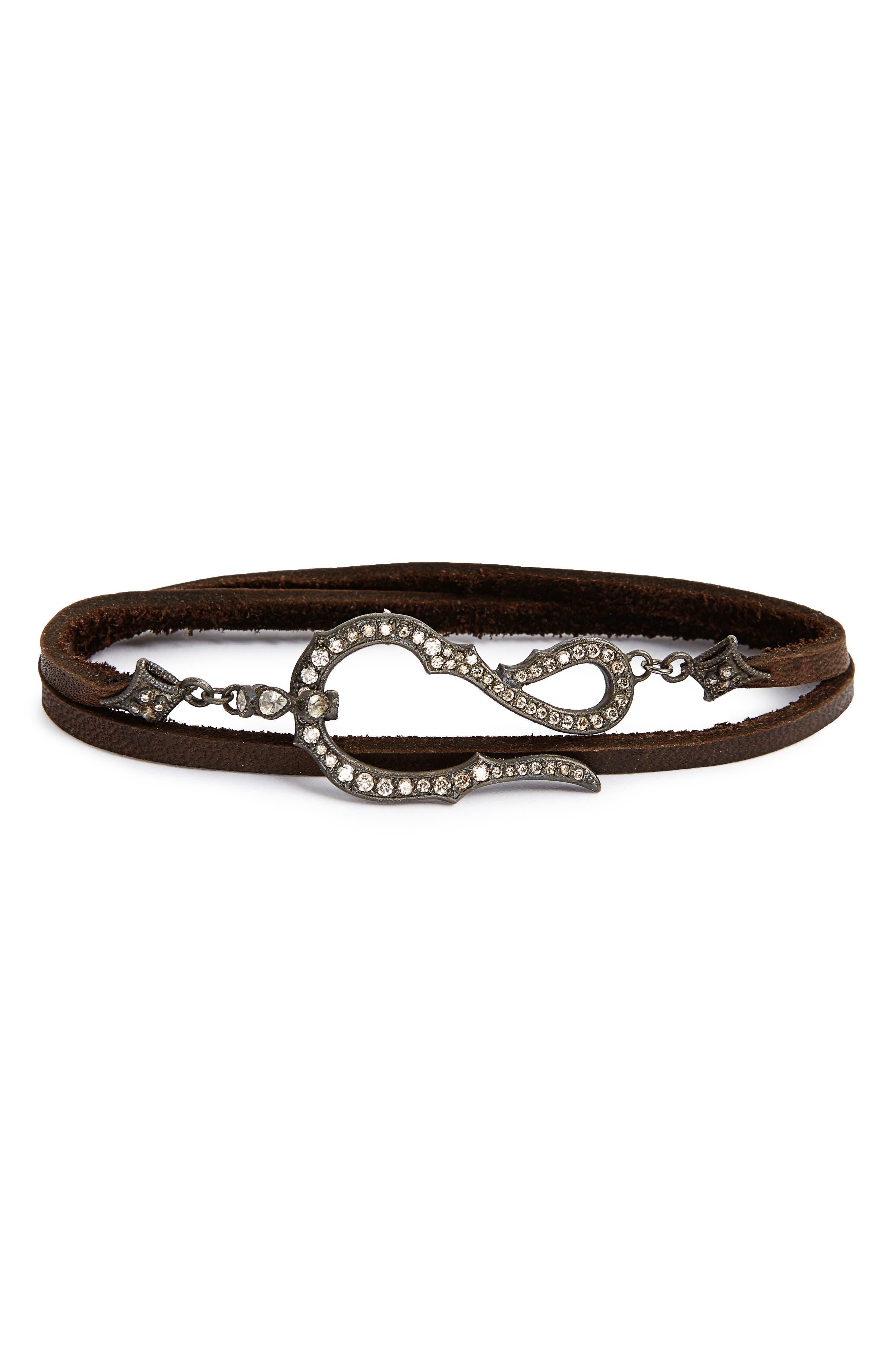 Old World Midnight Leather & Diamond Wrap Bracelet,                             Main thumbnail 1, color,                             Black