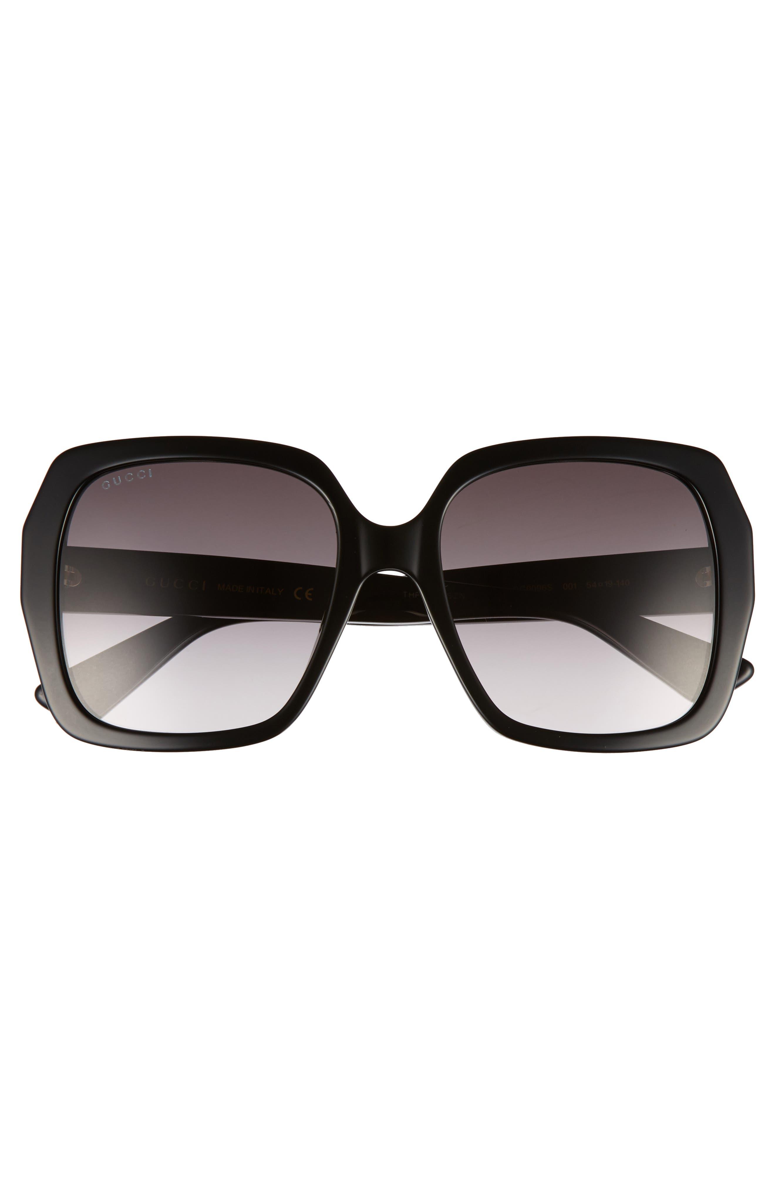 54mm Gradient Square Sunglasses,                             Alternate thumbnail 3, color,                             Black/ Grey
