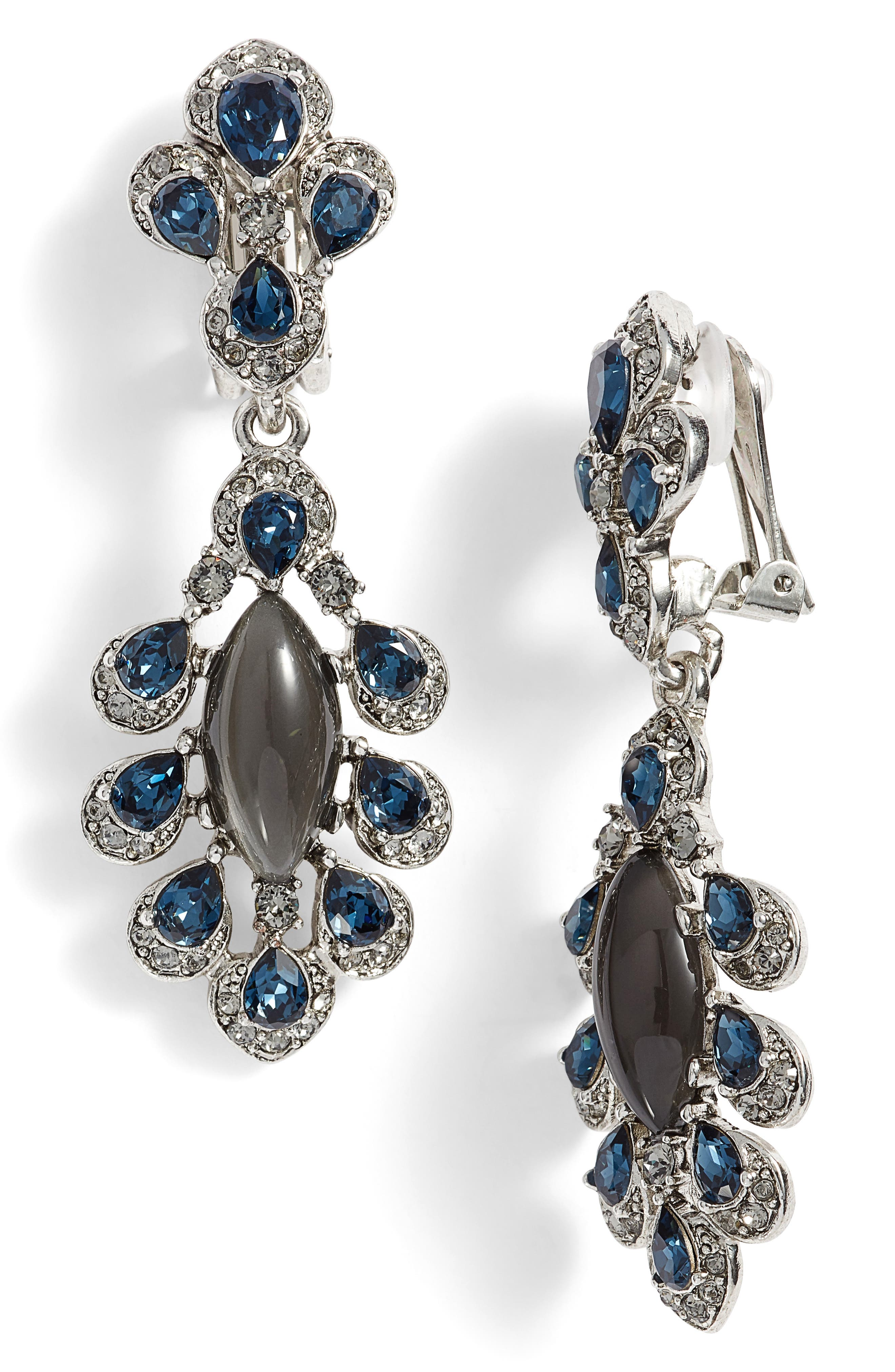 Parlor Crystal Earrings,                         Main,                         color, Antique Silver